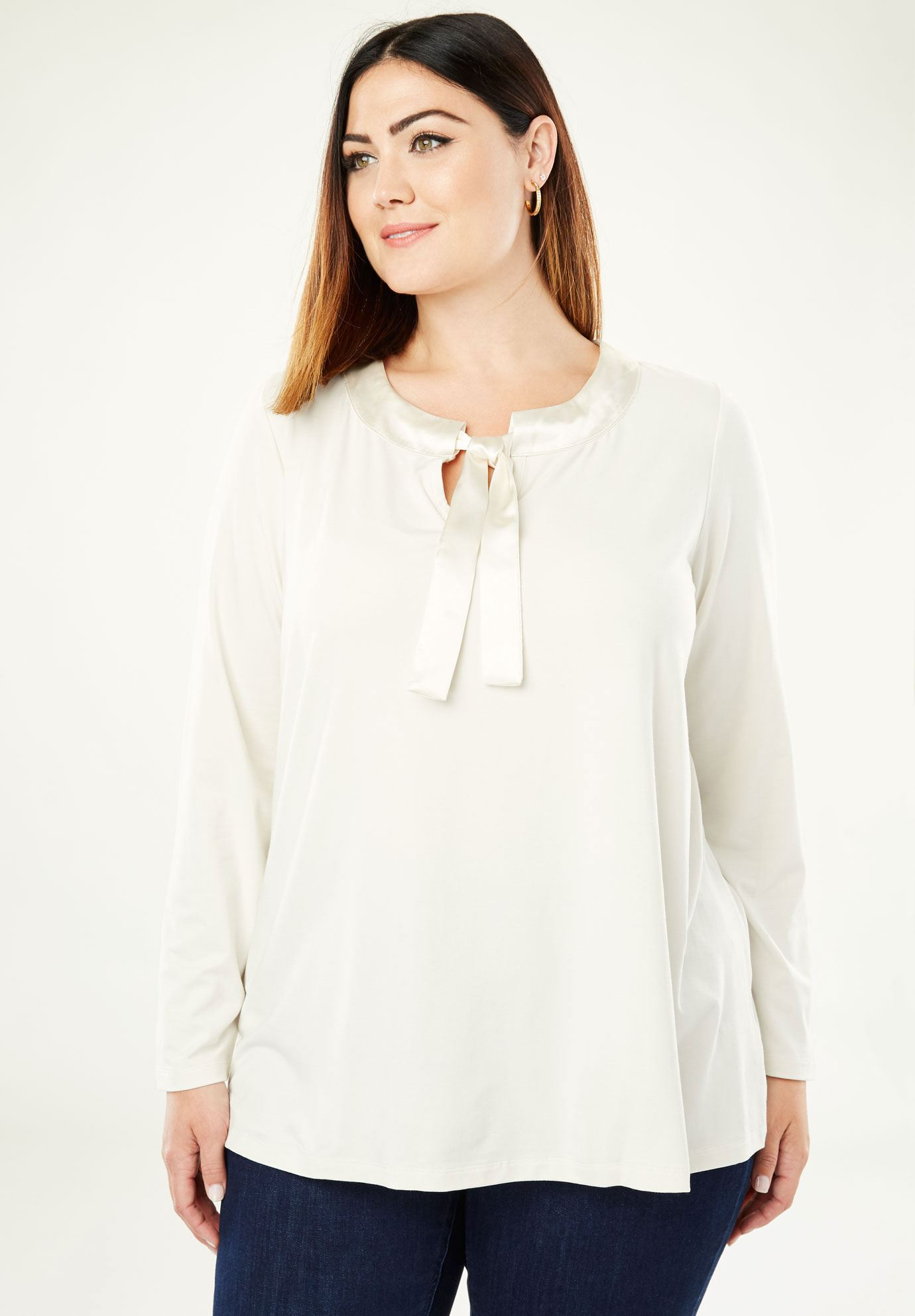 Satin Trim Tunic,