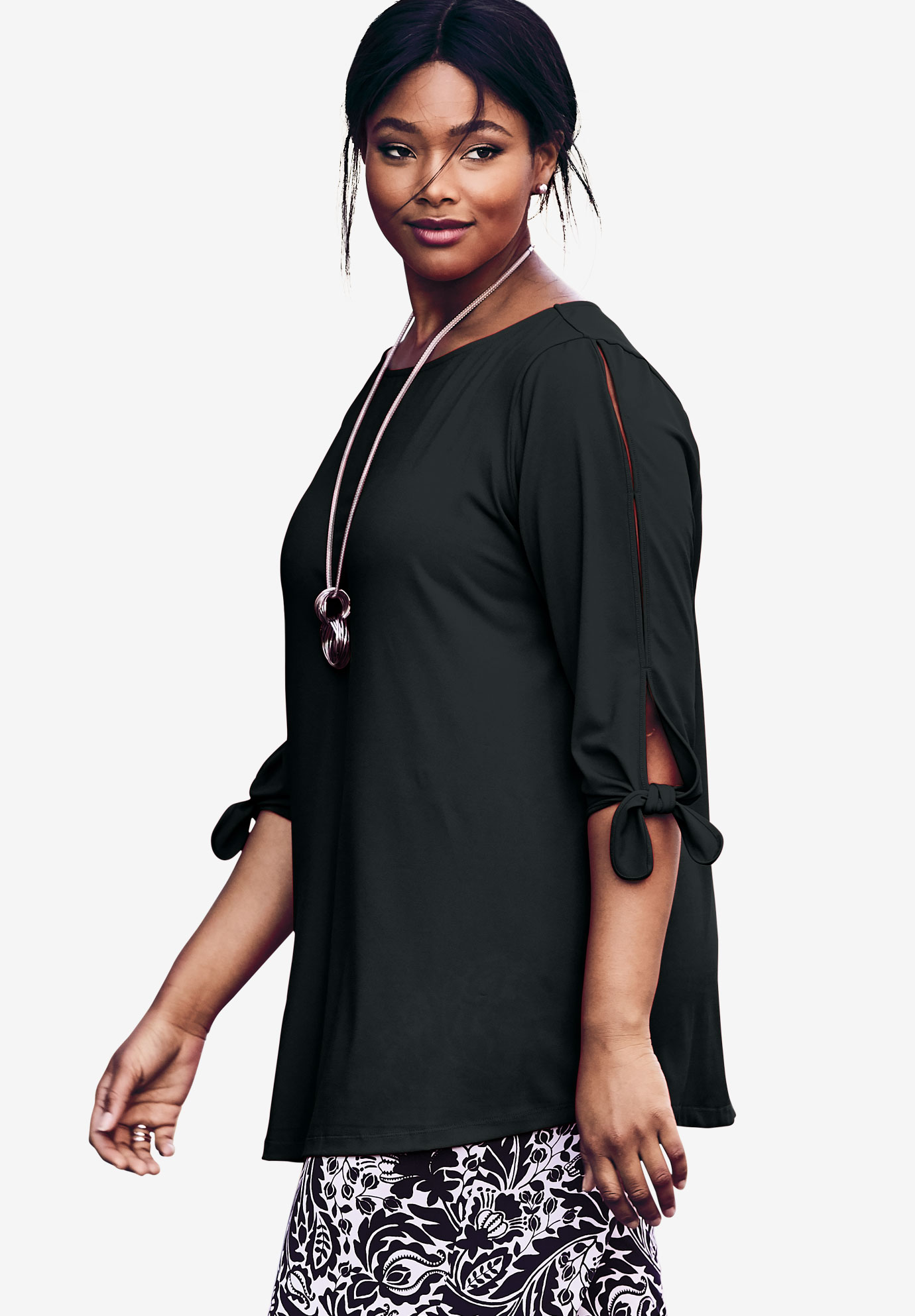 Travel Knit Tie-Sleeve Tunic, BLACK, hi-res