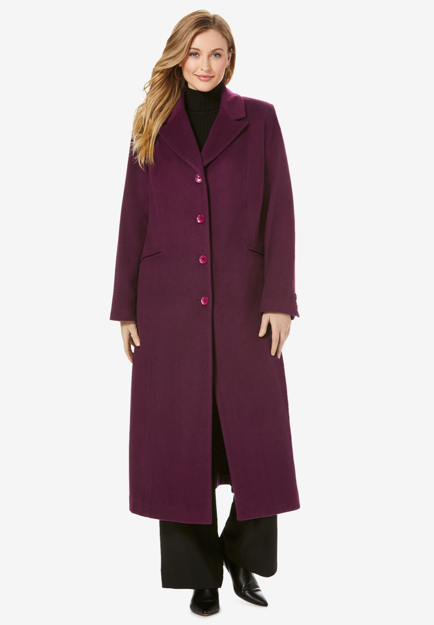 Full Length Wool Blend Coat,