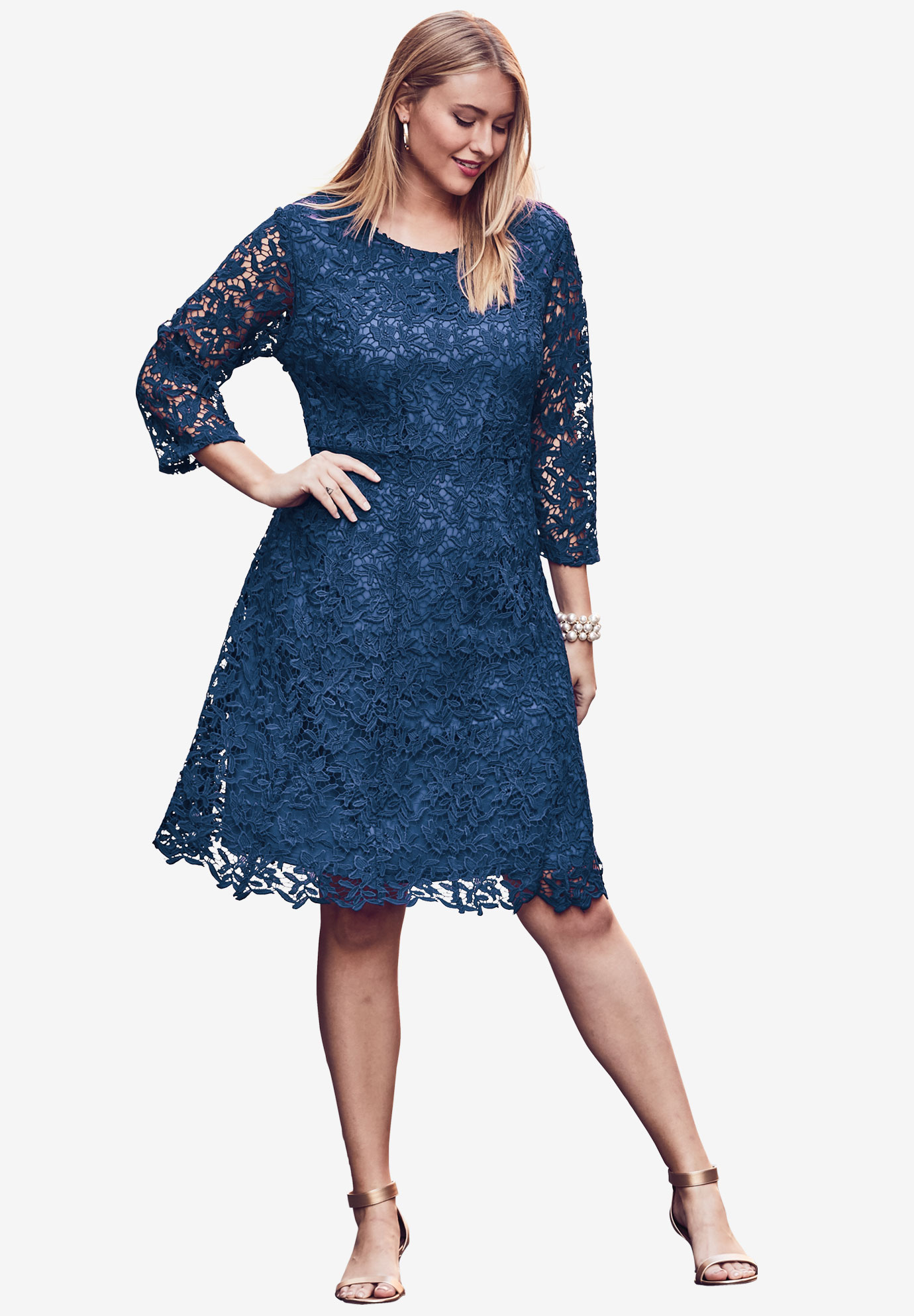 Lace Fit & Flare Dress, DARK COBALT, hi-res