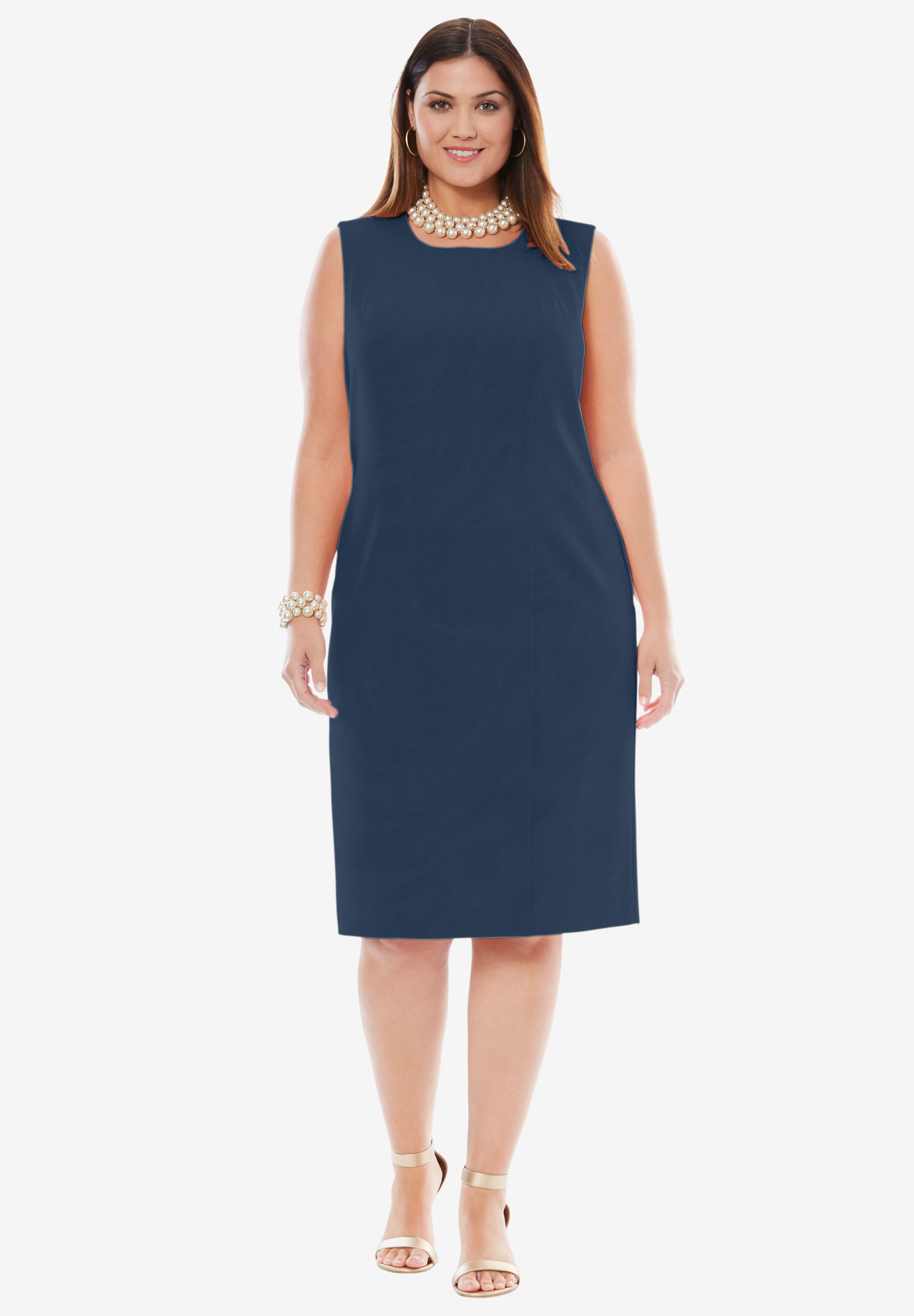 Bi-Stretch Sheath Dress, NAVY, hi-res