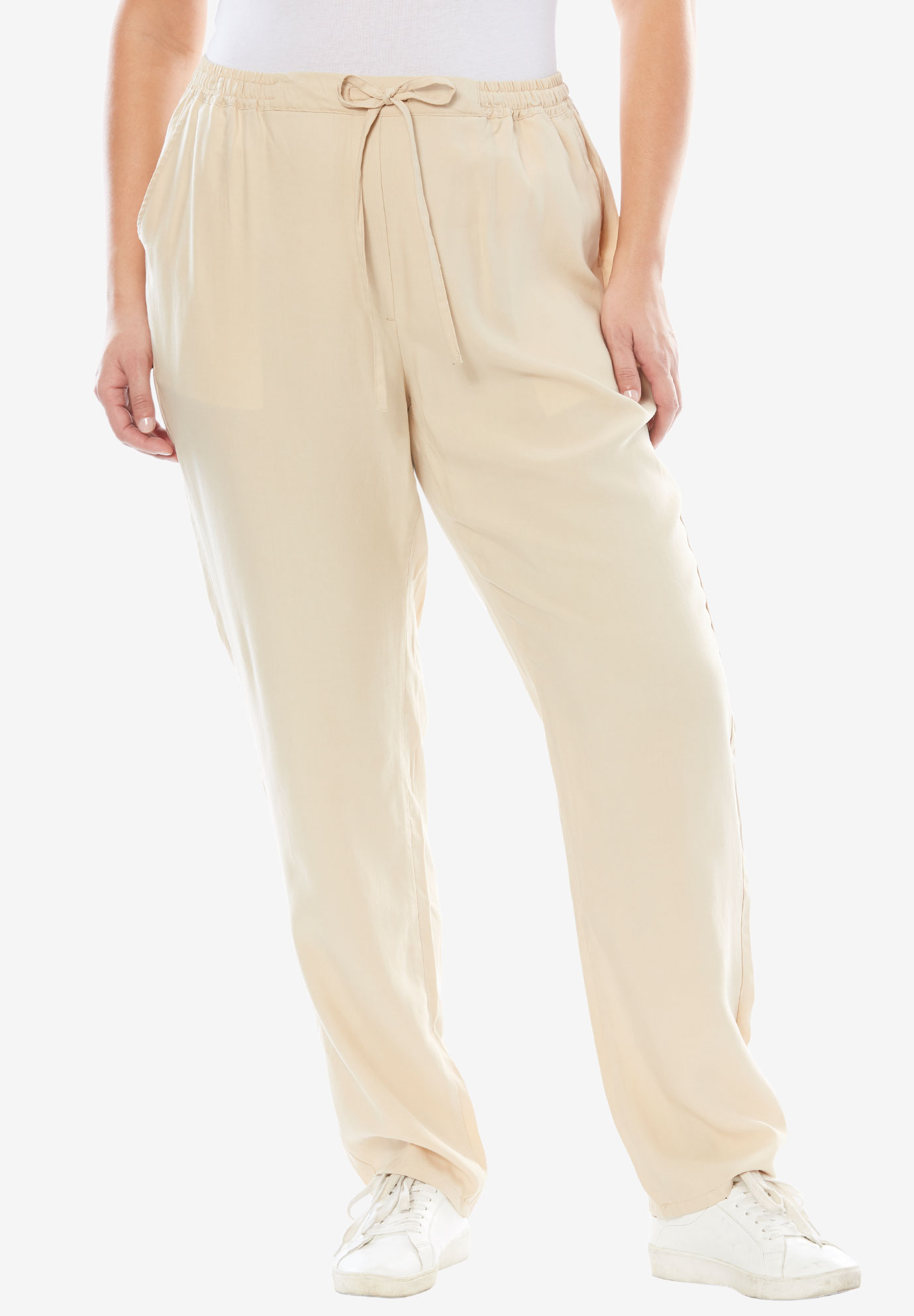 Tencel® Drawstring Pants, LIGHT SAND, hi-res