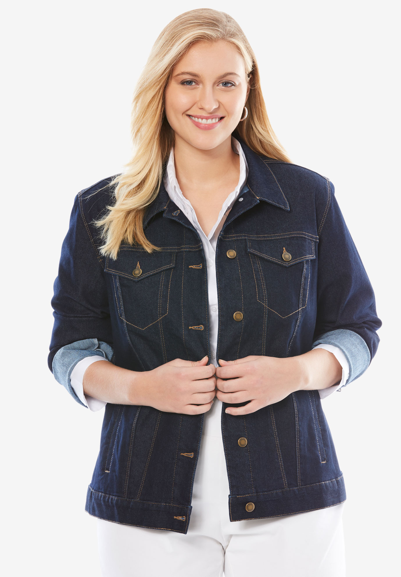 True Fit Denim Jacket, INDIGO, hi-res