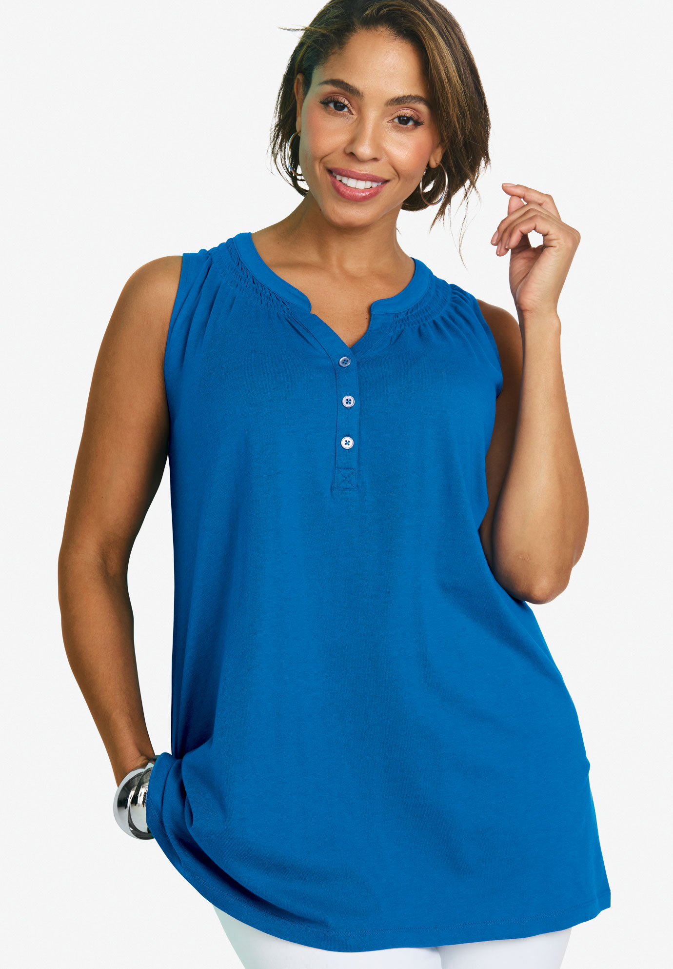 Sleeveless Smocked Tunic, BRIGHT COBALT, hi-res