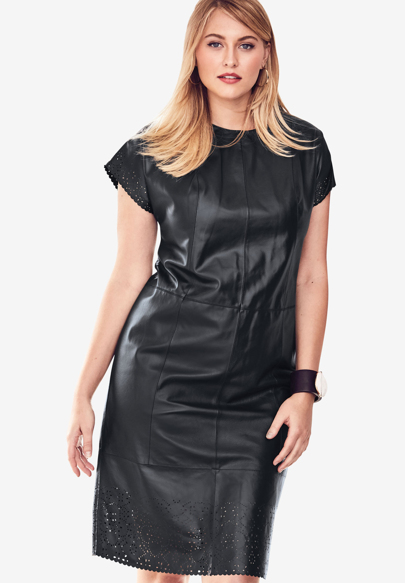 Leather Dress with Laser Cutouts, BLACK, hi-res