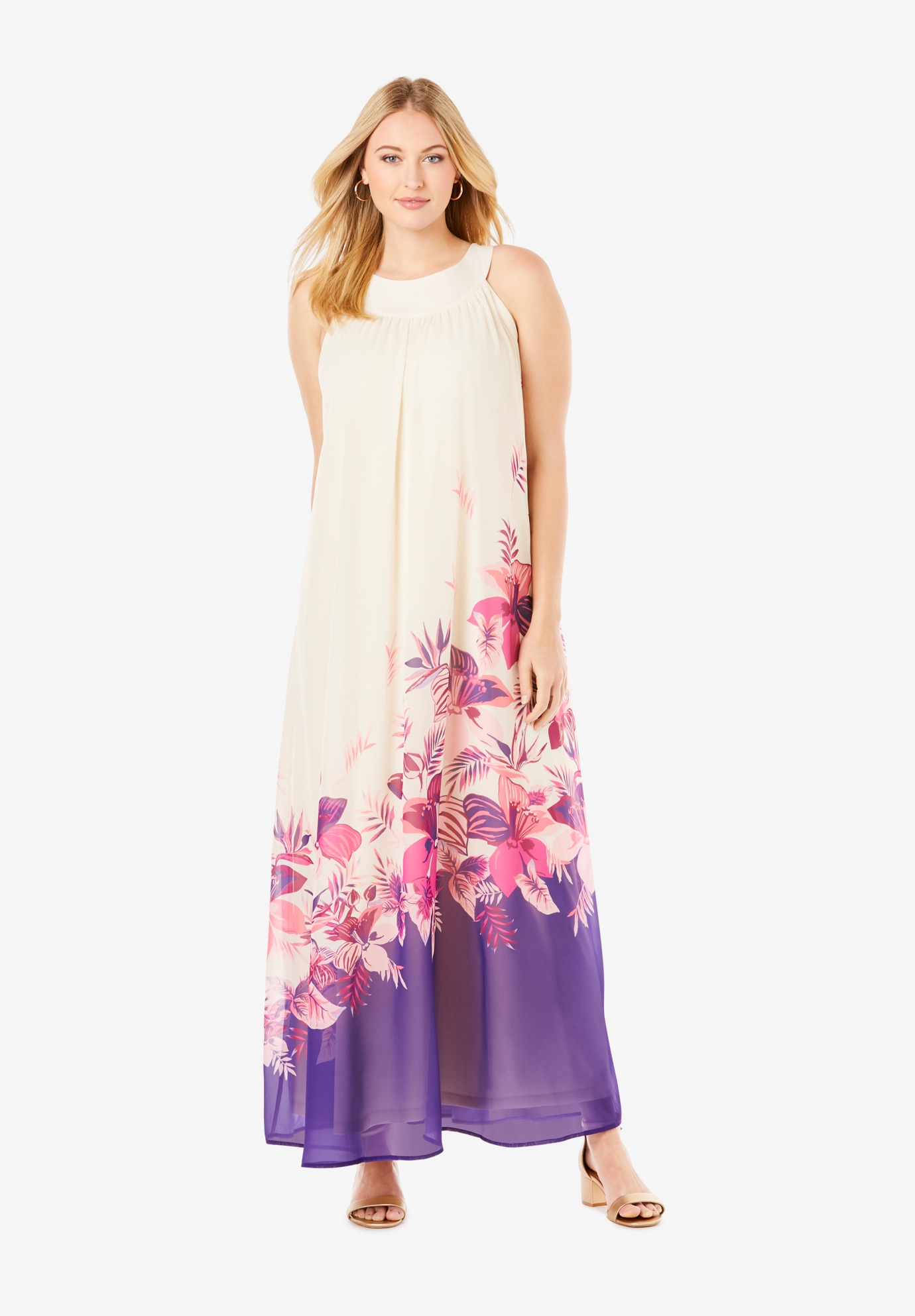 Sleeveless A-line Maxi Dress,