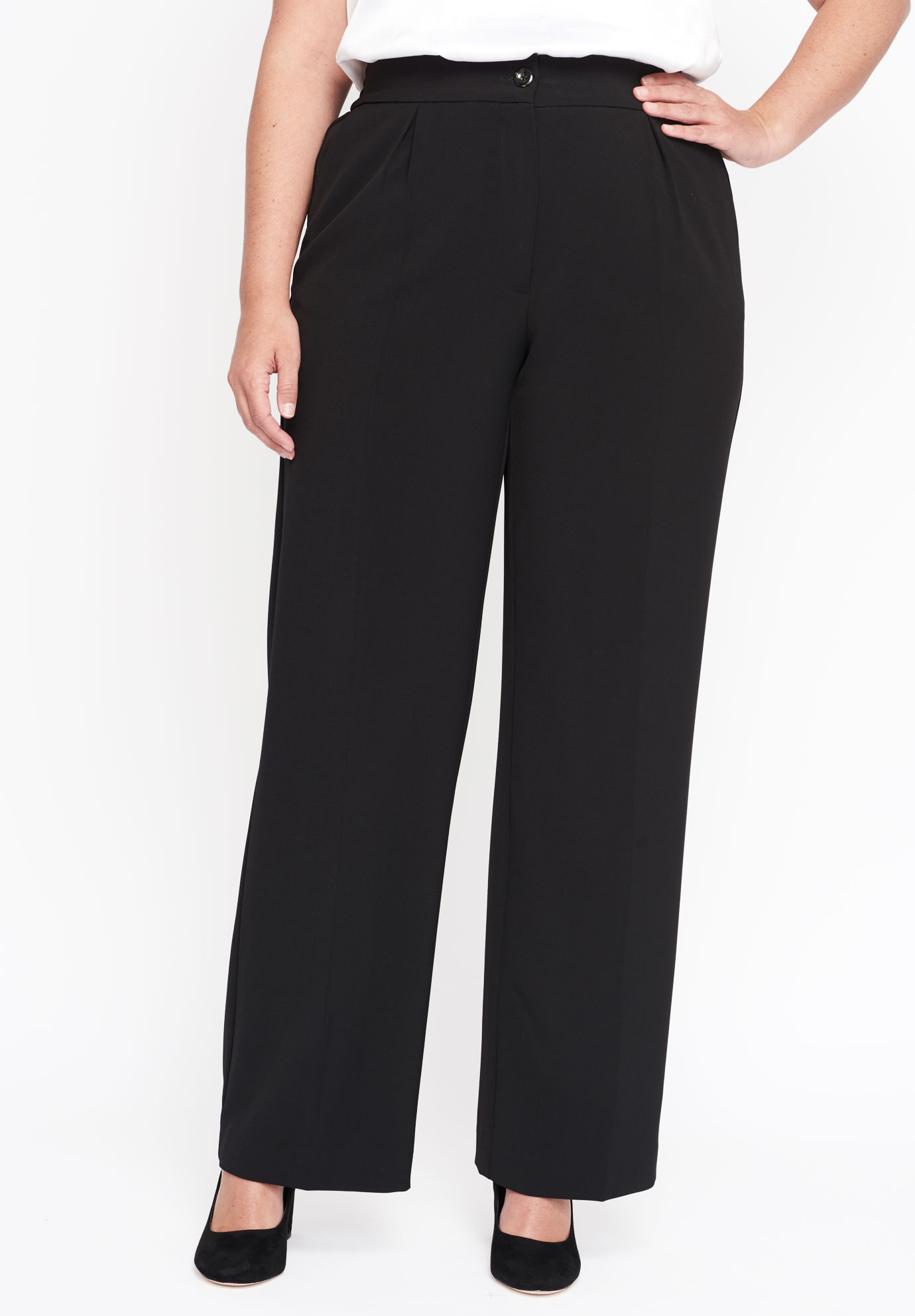 Tummy Control Bi-Stretch Wide Leg Trouser,