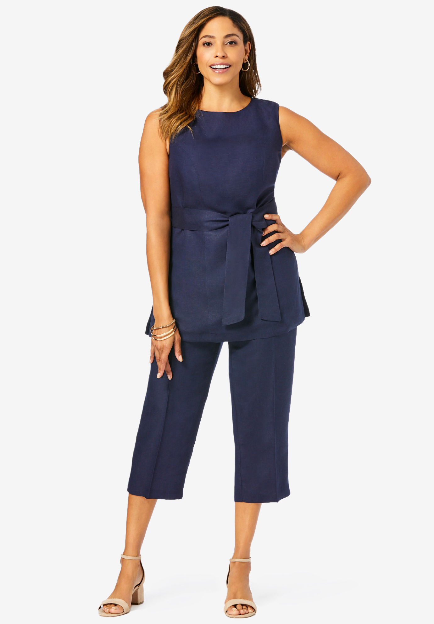 Linen Blend Capri Set, NAVY, hi-res