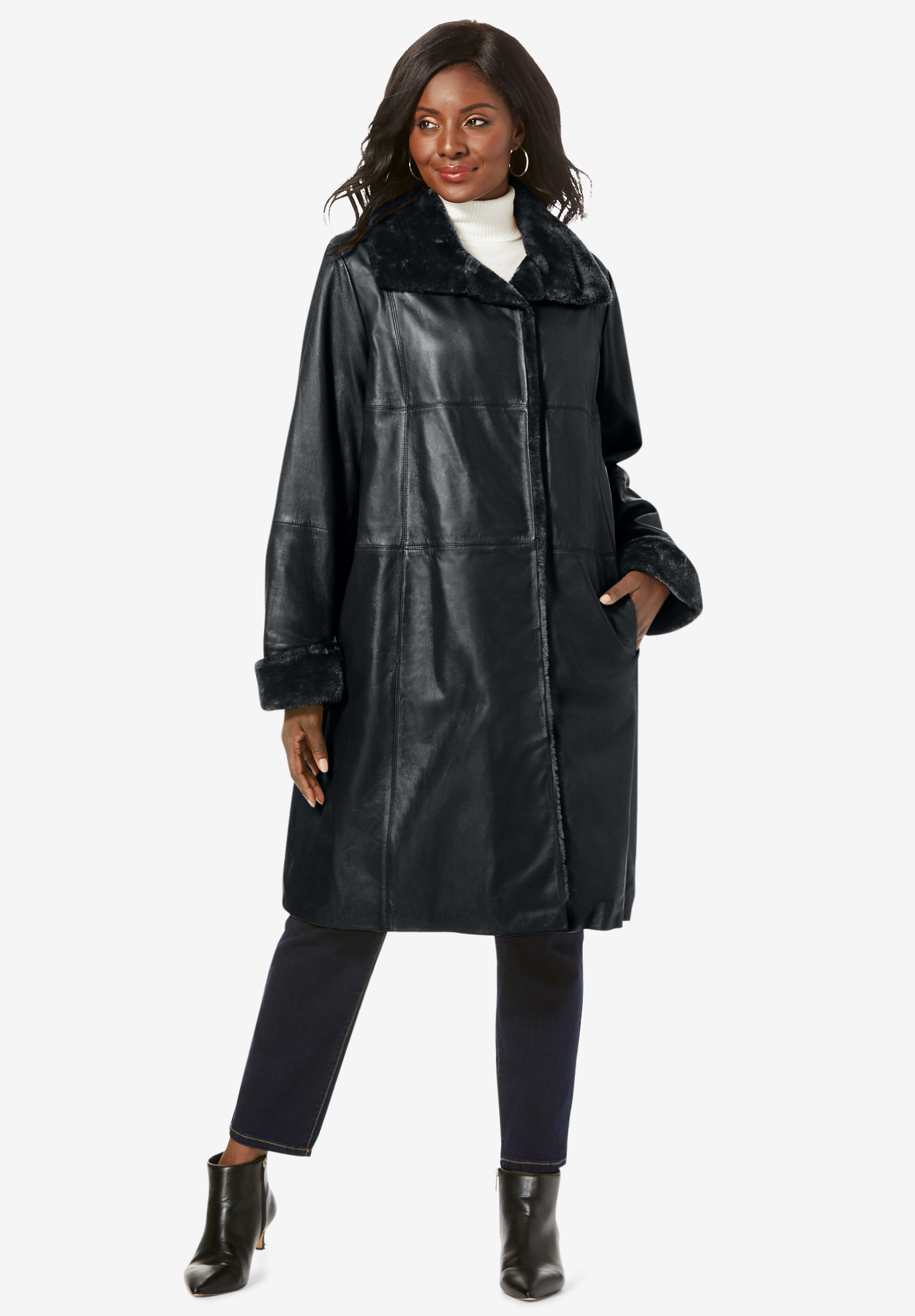 Fur-Trim Leather Swing Coat,
