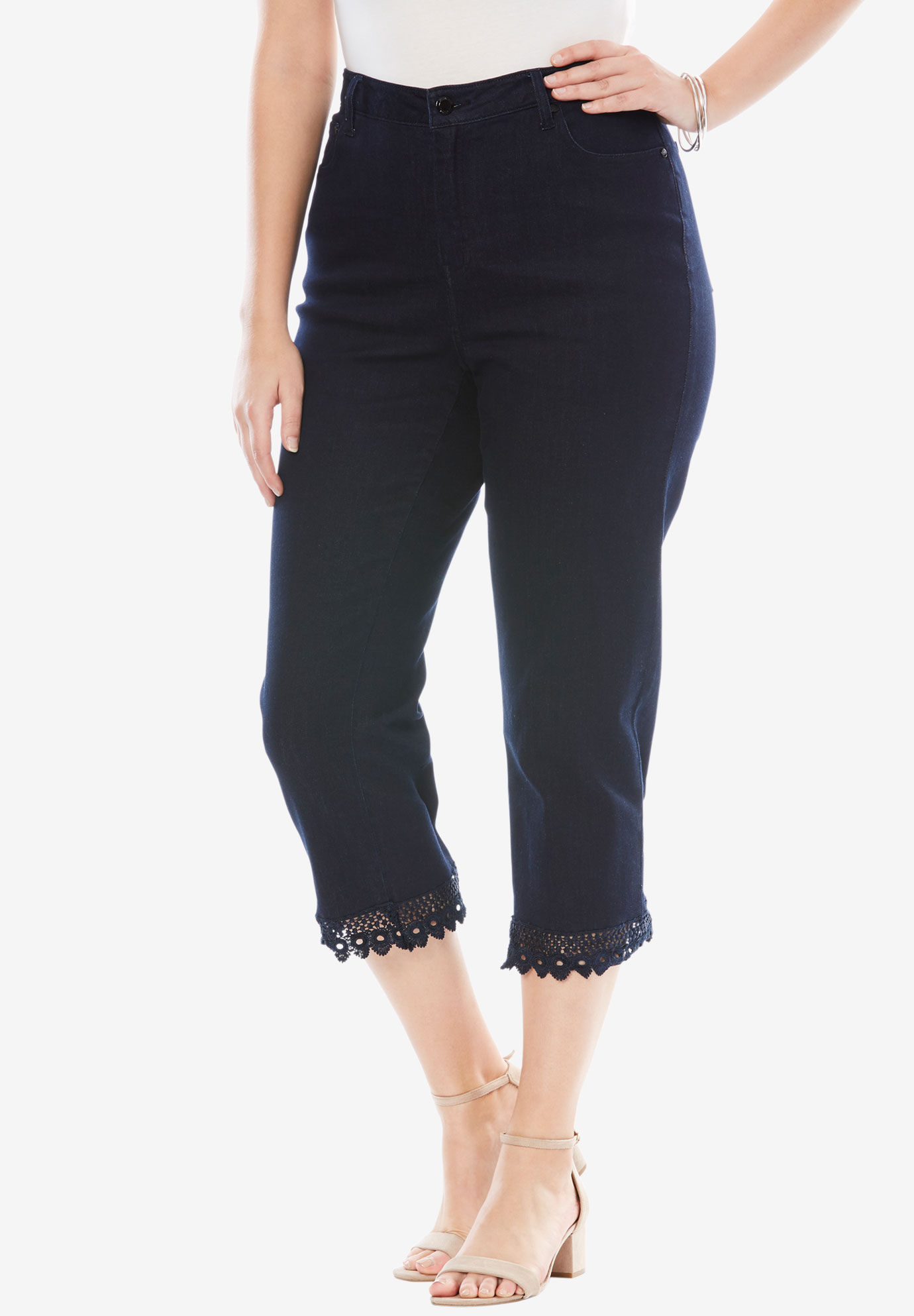 Lace Trim Crop Jeans, INDIGO WASH, hi-res