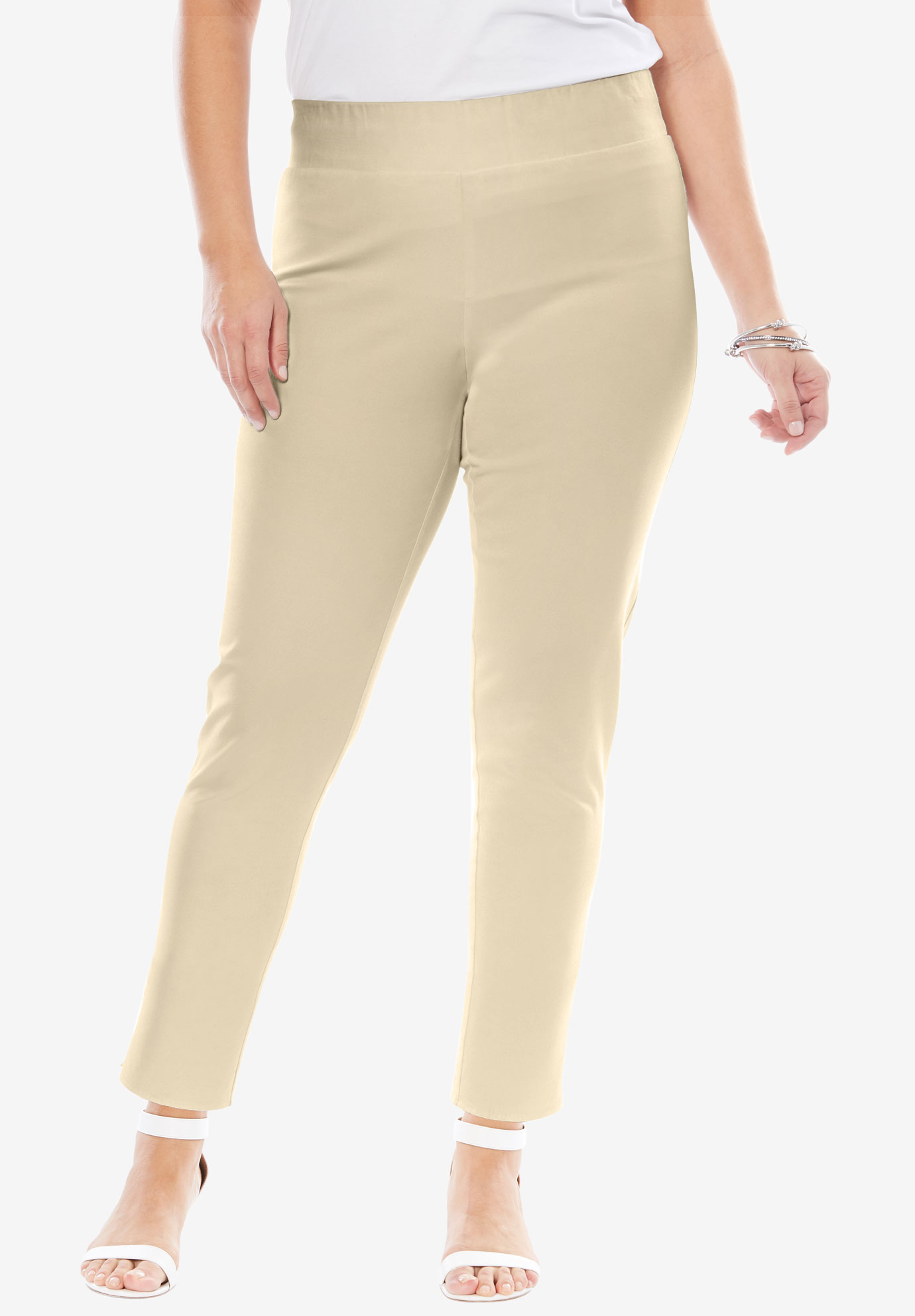 Tummy Control Twill Ankle Pant, LIGHT SAND, hi-res