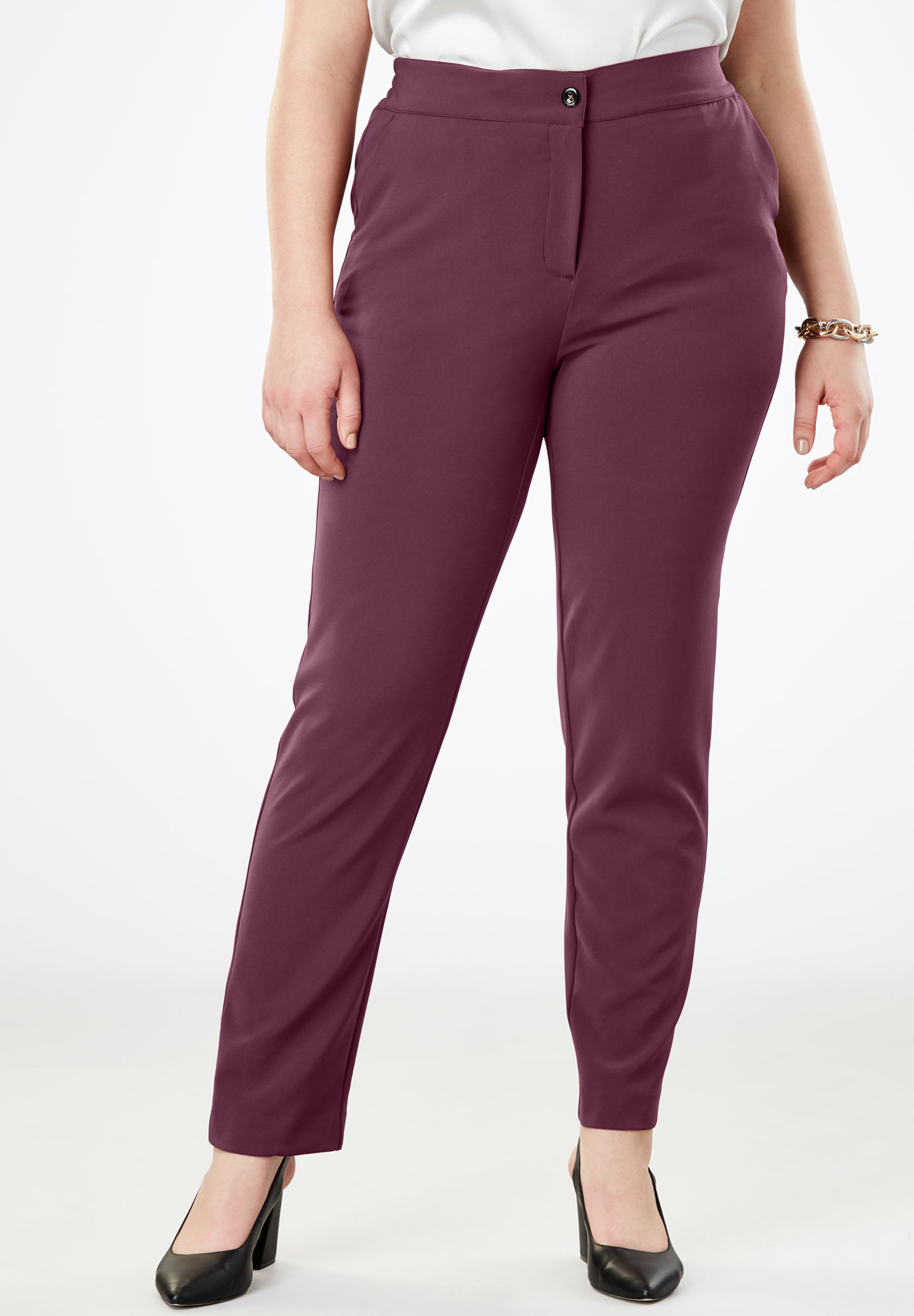 Tummy Control Bi-Stretch Straight-Leg Pant,
