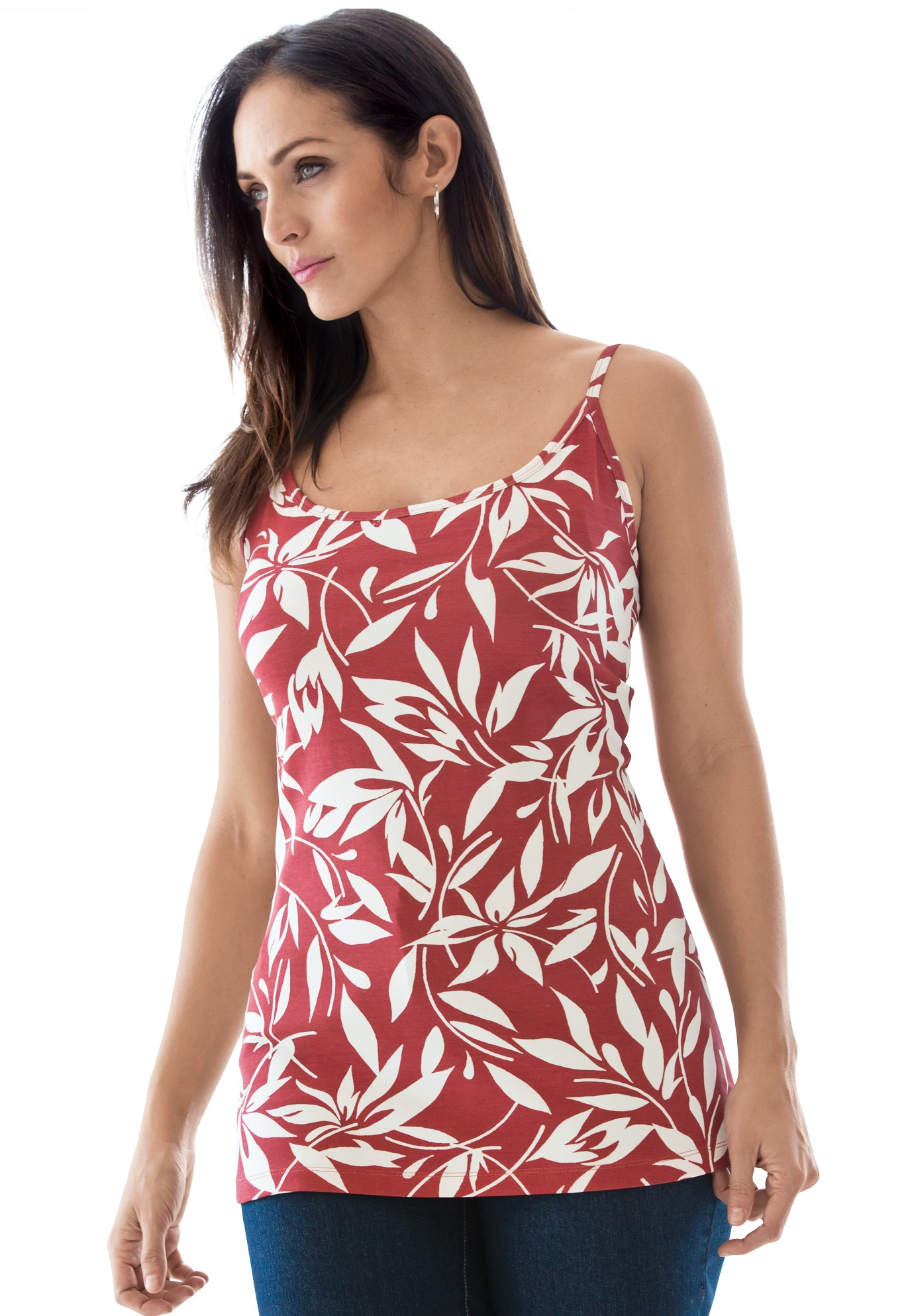 Cami Top with Adjustable Straps, ABSTRACT FLORAL, hi-res
