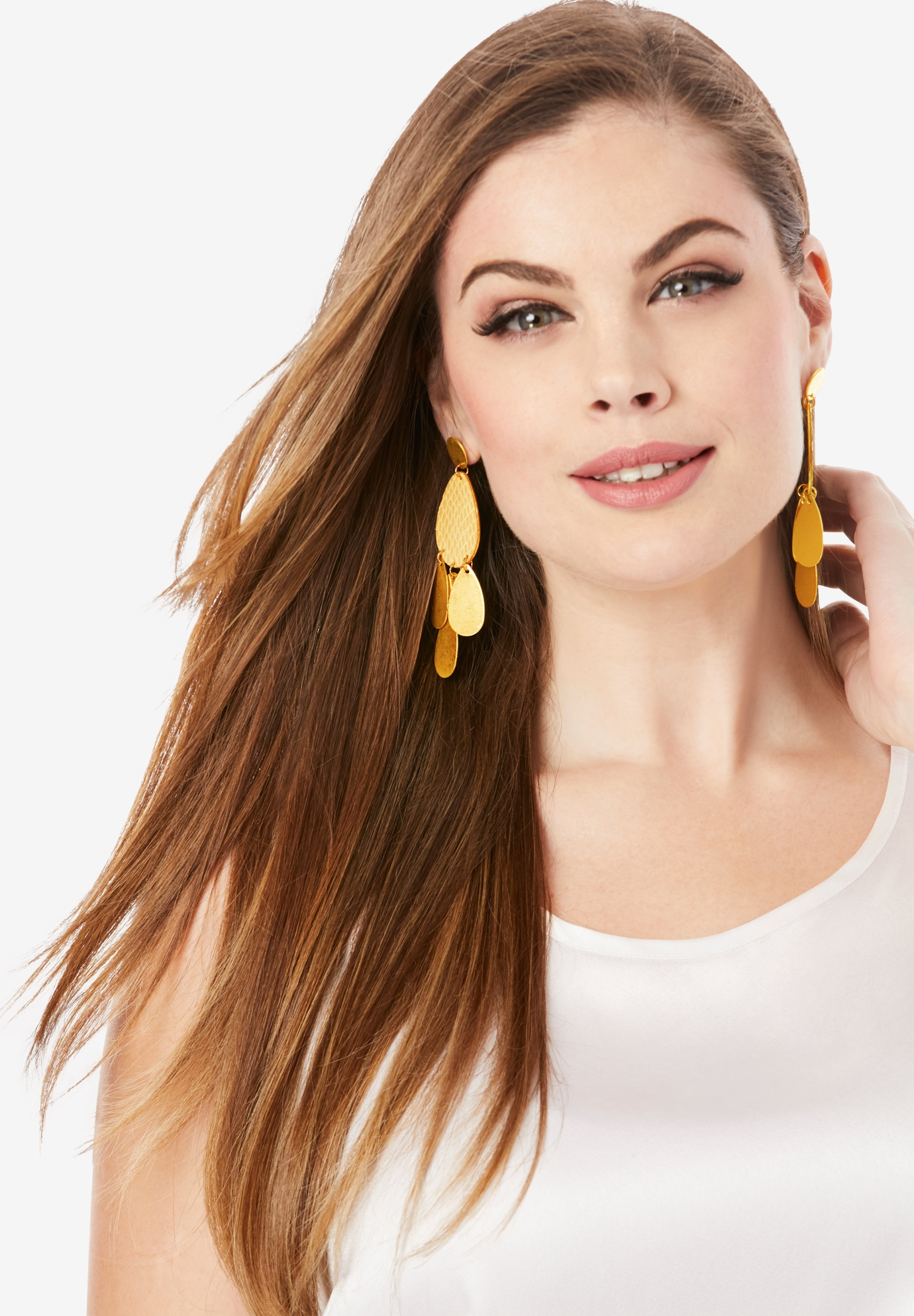 Plated Dangling Earrings, GOLD