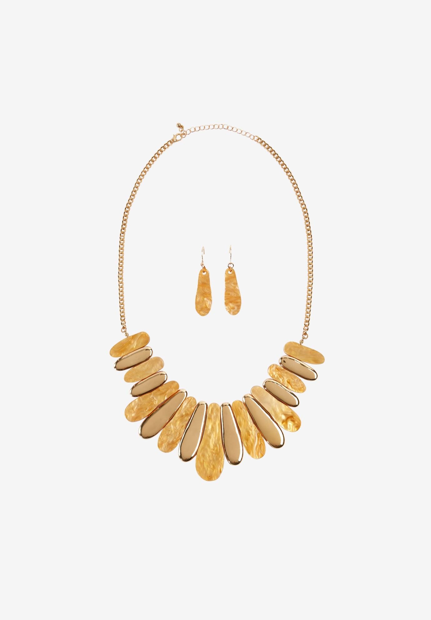 Statement Necklace & Earring Set, GOLD