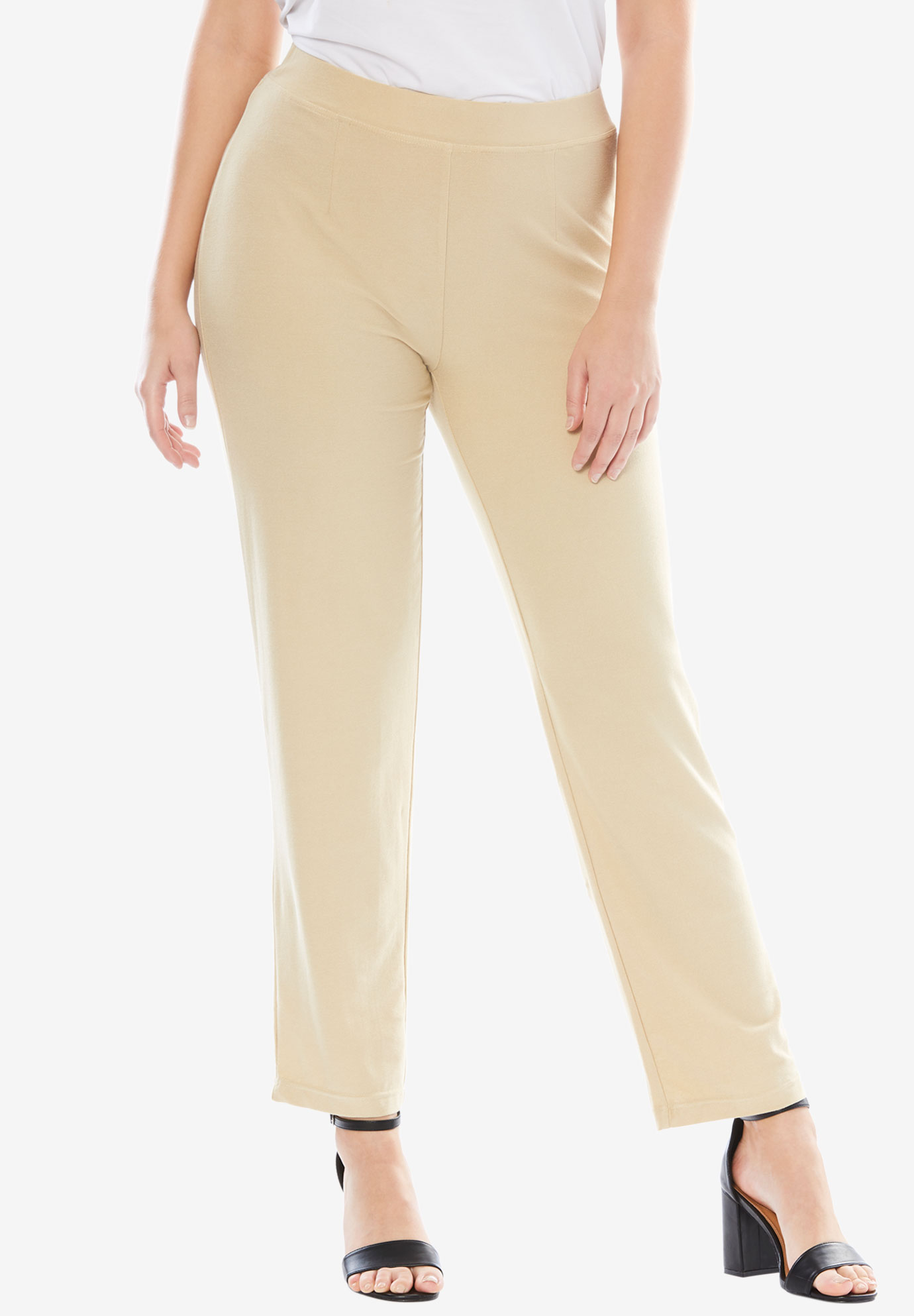 Comfortable Refined Crepe Pants, LIGHT SAND, hi-res