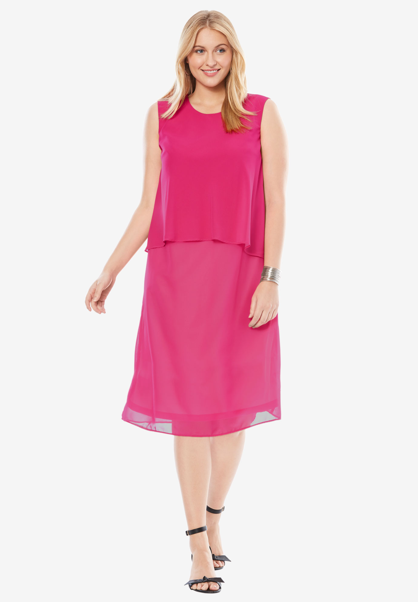 Scoopneck Overlay Dress, PASSION PINK, hi-res