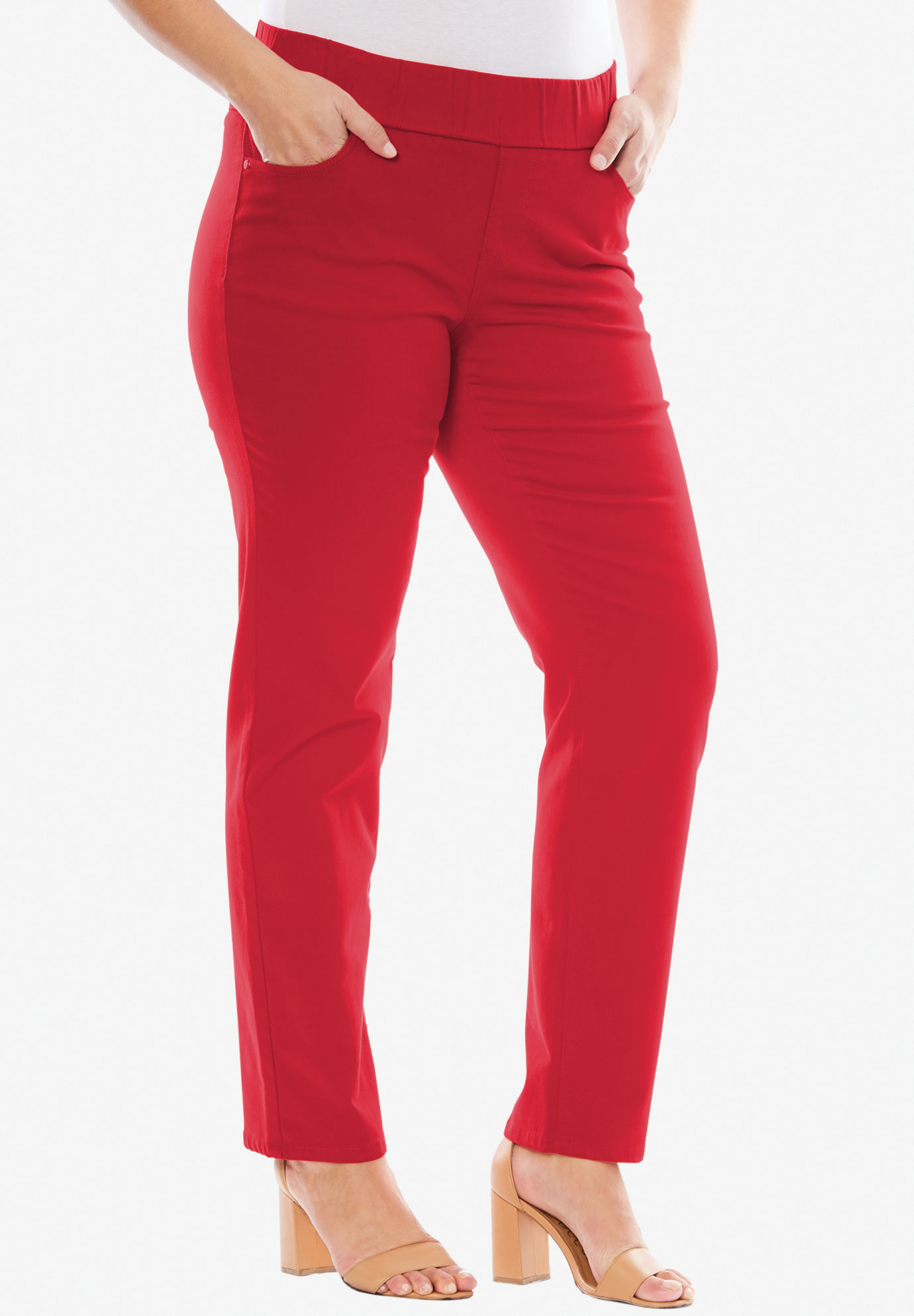 Comfort Waistband Skinny Jeans, HOT RED, hi-res