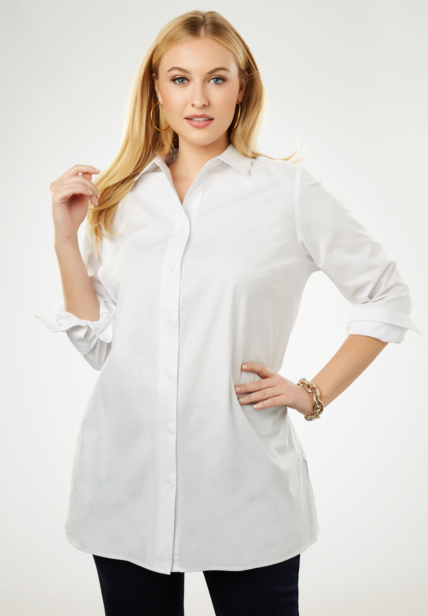 Long Sleeve Collared Poplin Tunic, WHITE, hi-res