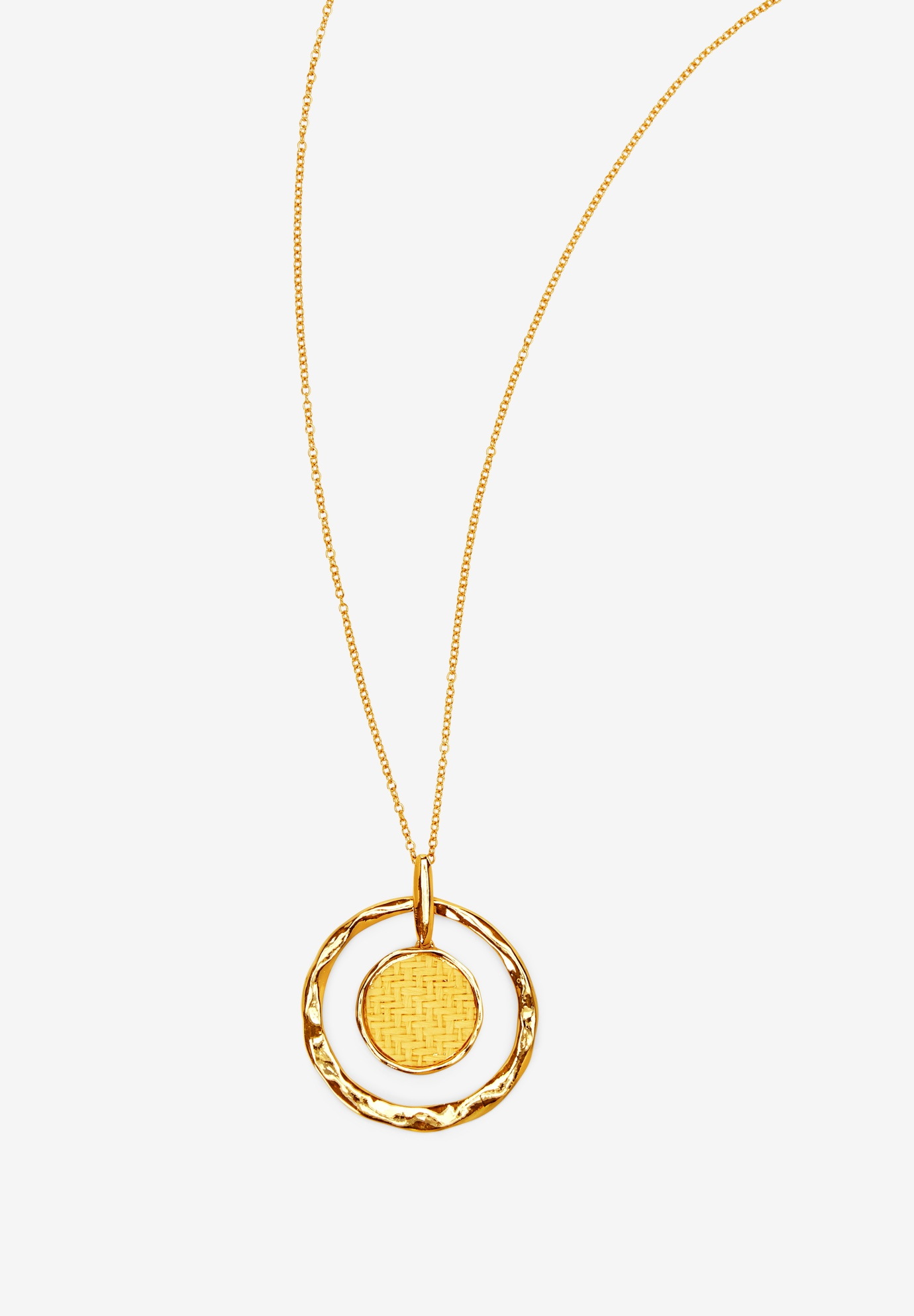 Pendant Necklace with Straw Inset,
