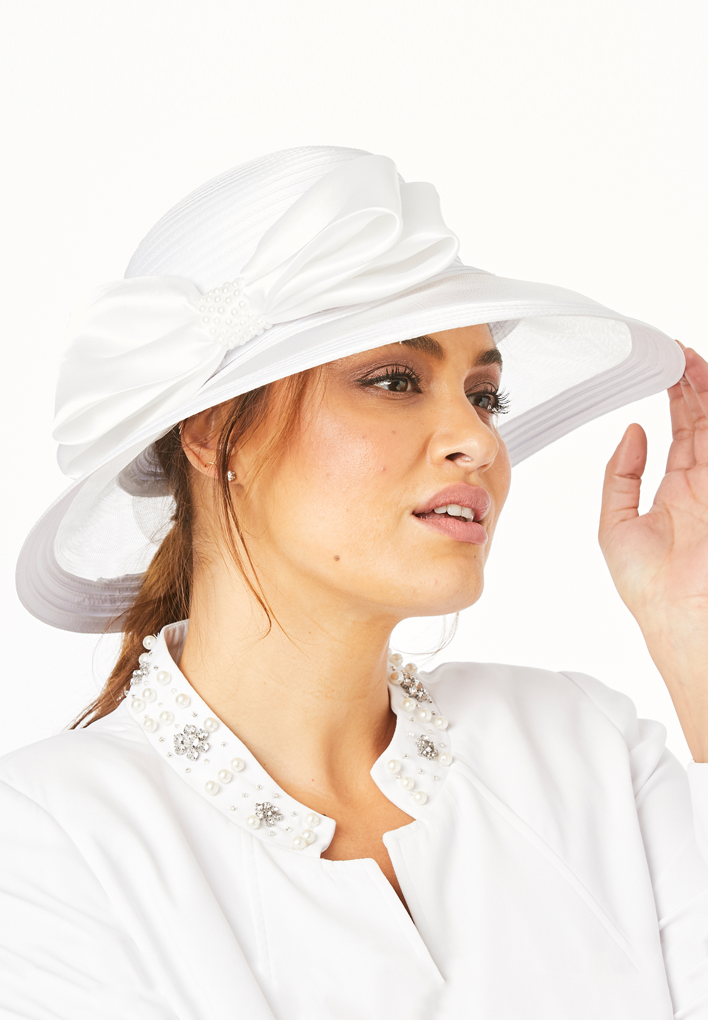Derby Hat with Embellished Bow, WHITE