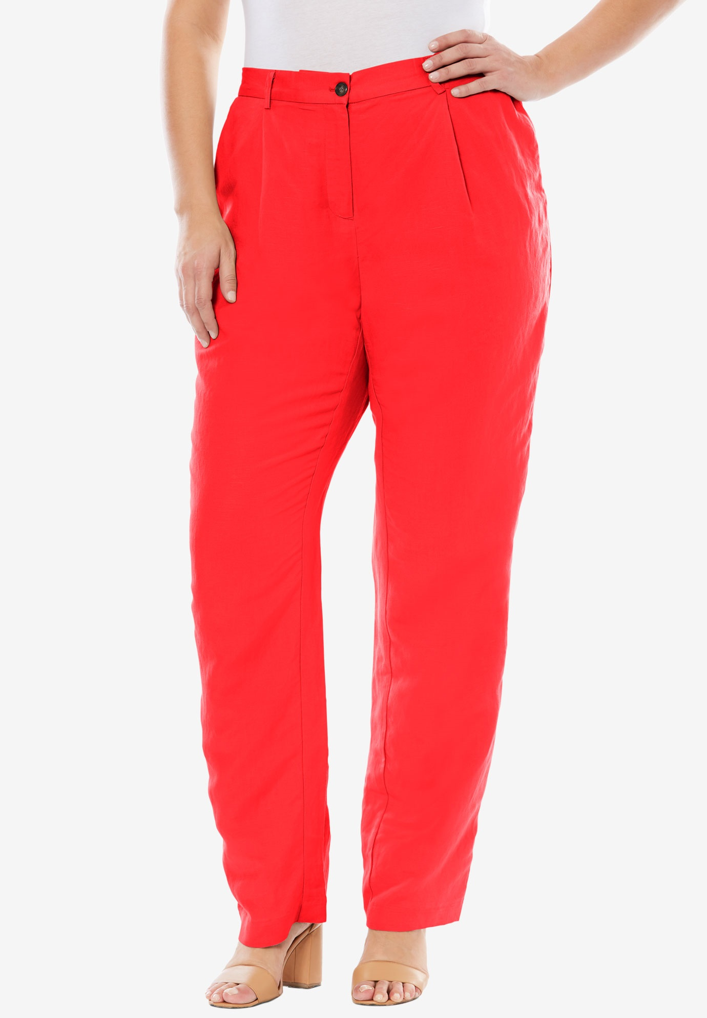 Linen Blend Pants, HOT RED, hi-res