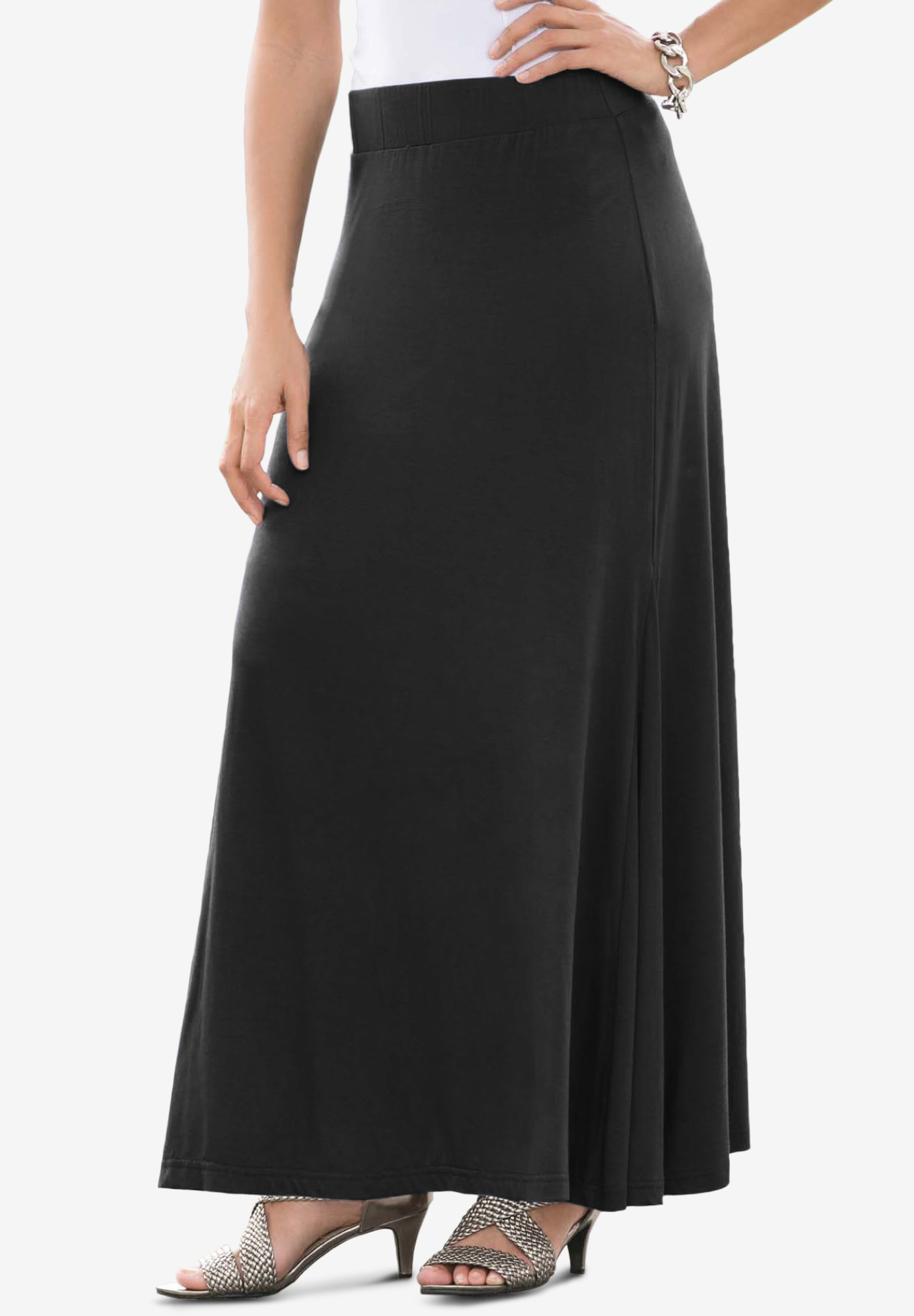 Maxi Skirt in Stretch Jersey, BLACK, hi-res