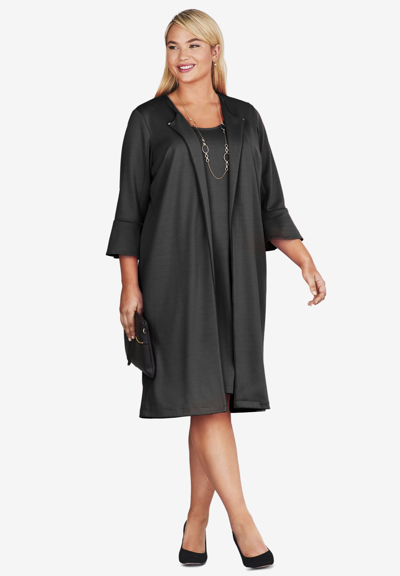 13eced49a3e1 Bell Sleeve Ponte Jacket Dress| Plus Size Suits & Work | Roaman's