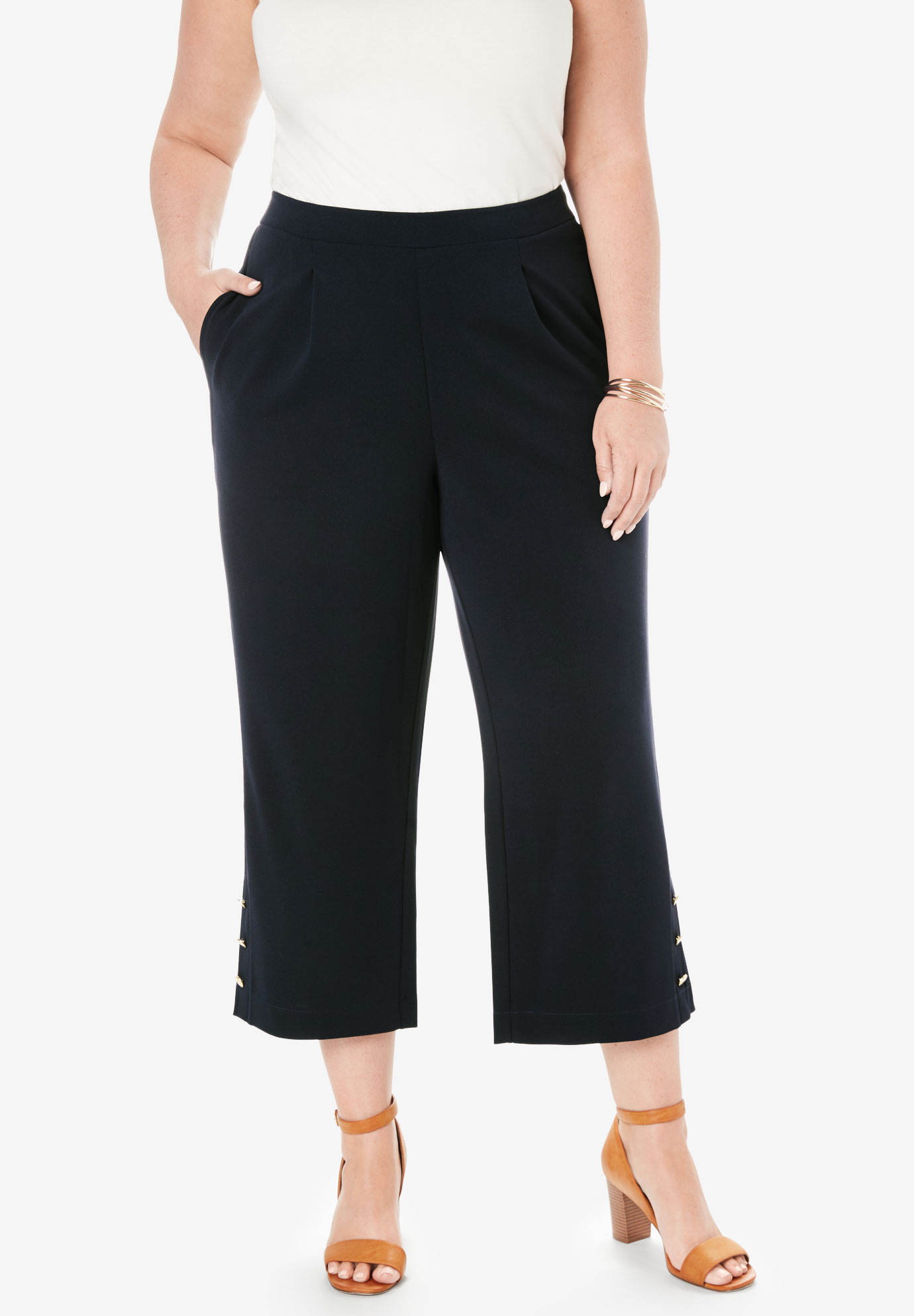 Knit Crepe Wide Crop Pants,