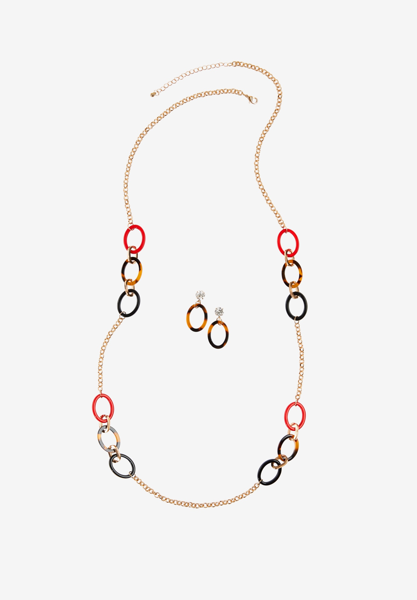 Multicolor Loop Earring & Necklace Set, MULTI