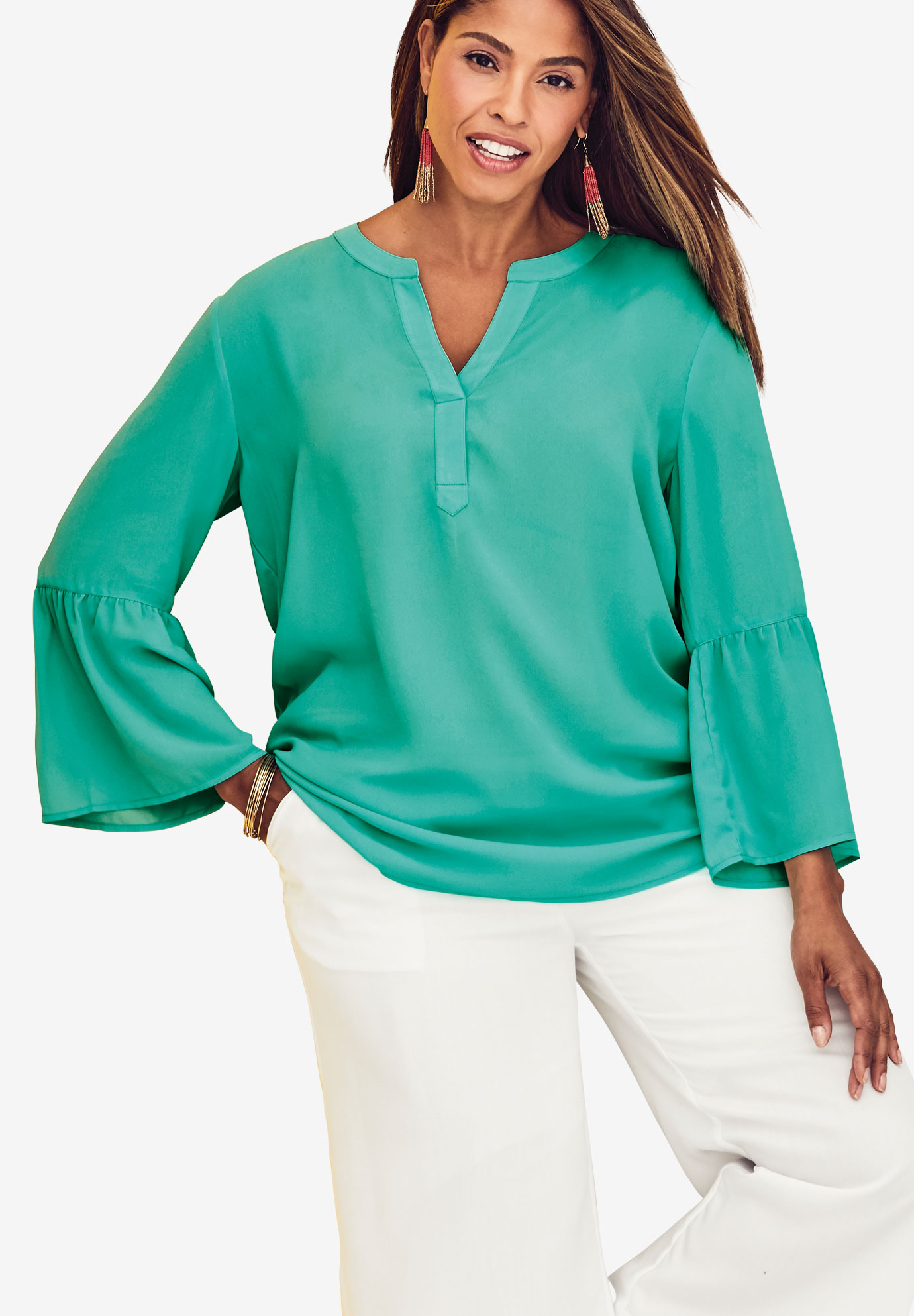Bell Sleeve Blouse, PRETTY JADE, hi-res