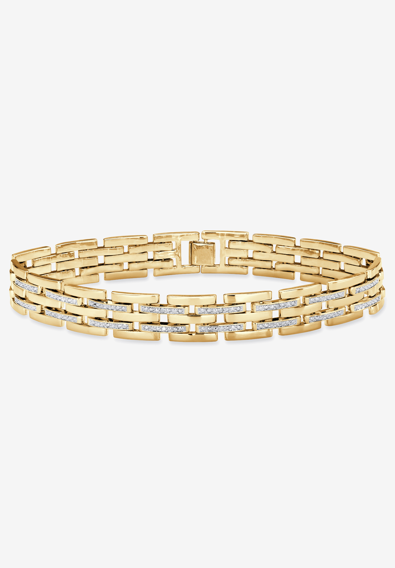"9"" Yellow Gold-Plated Link Bracelet with Diamond Accents, GOLD"