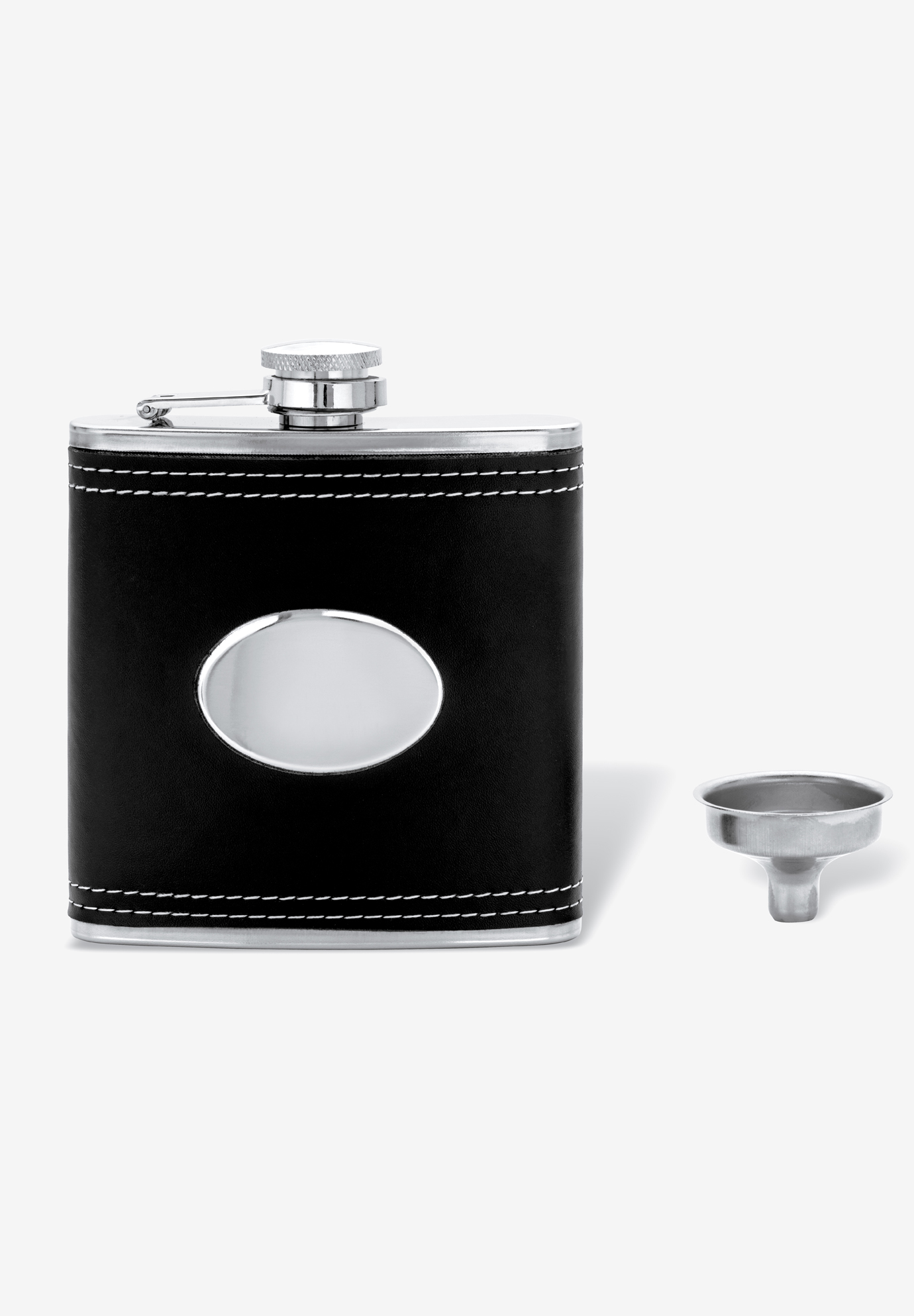 Stainless Steel and Black Leather Flask, STAINLESS STEEL