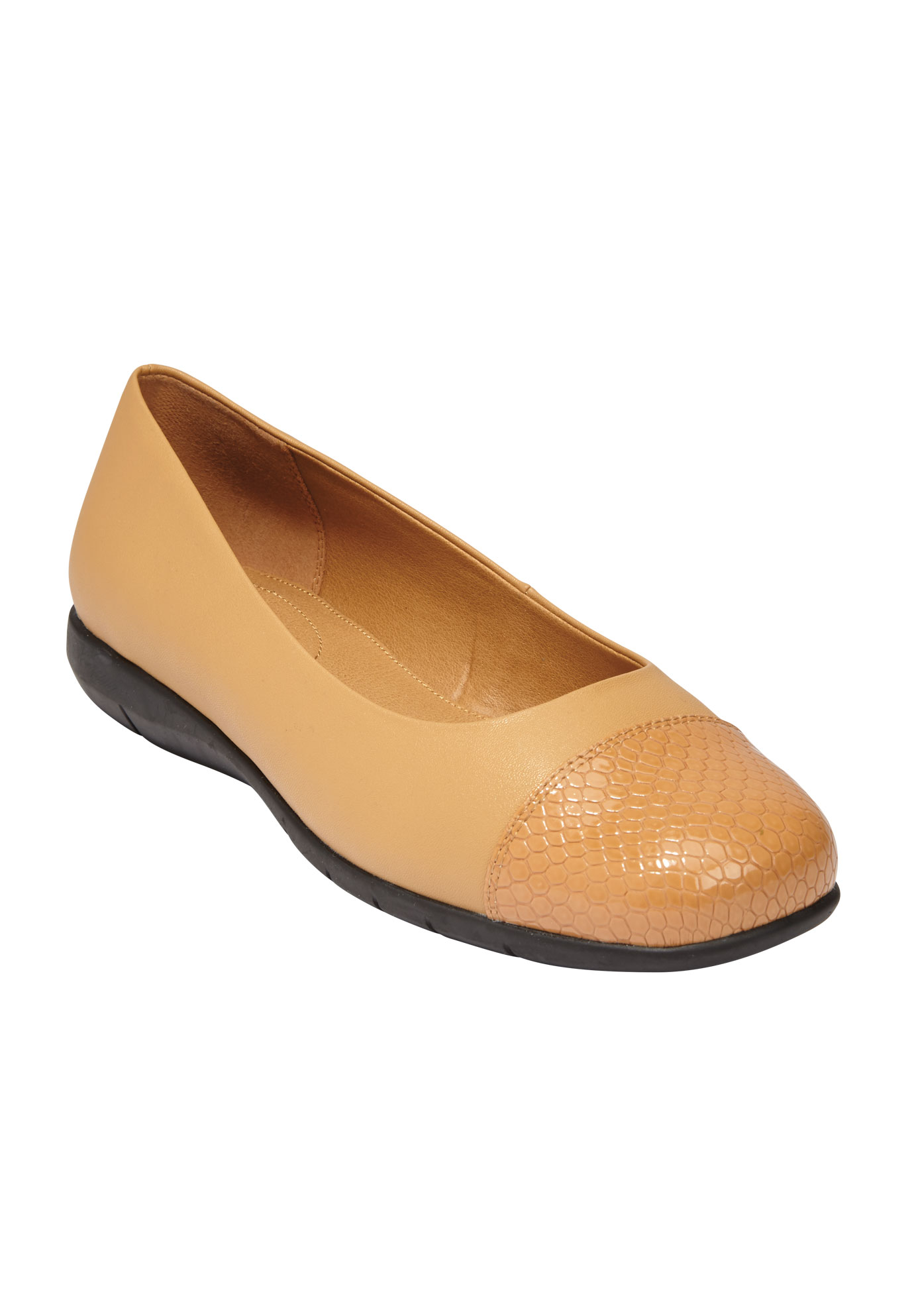 Fay Ballet Flat by Comfortview, CAMEL, hi-res