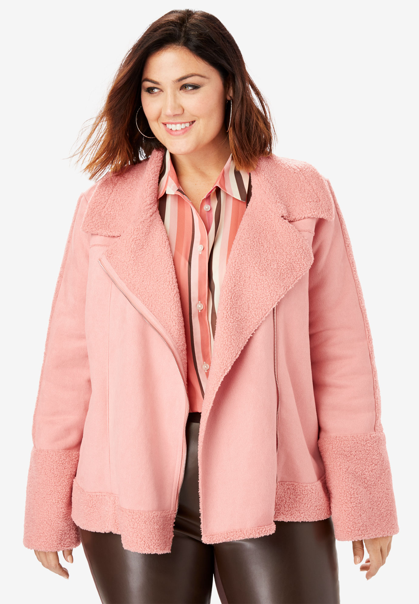 Faux-Shearling Moto Jacket,