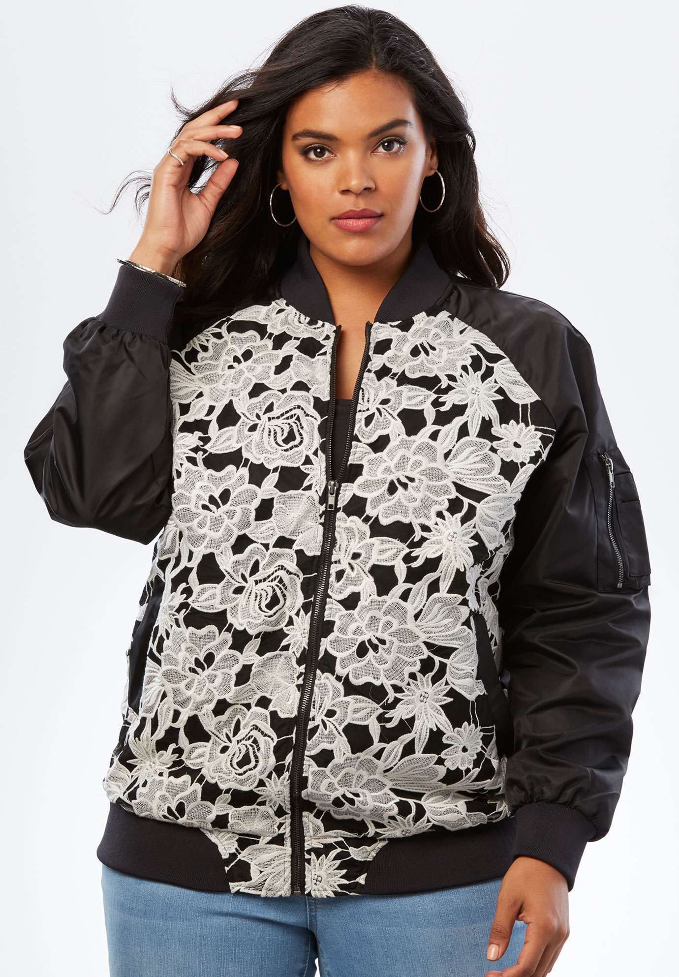 Lace-Front Bomber Jacket,