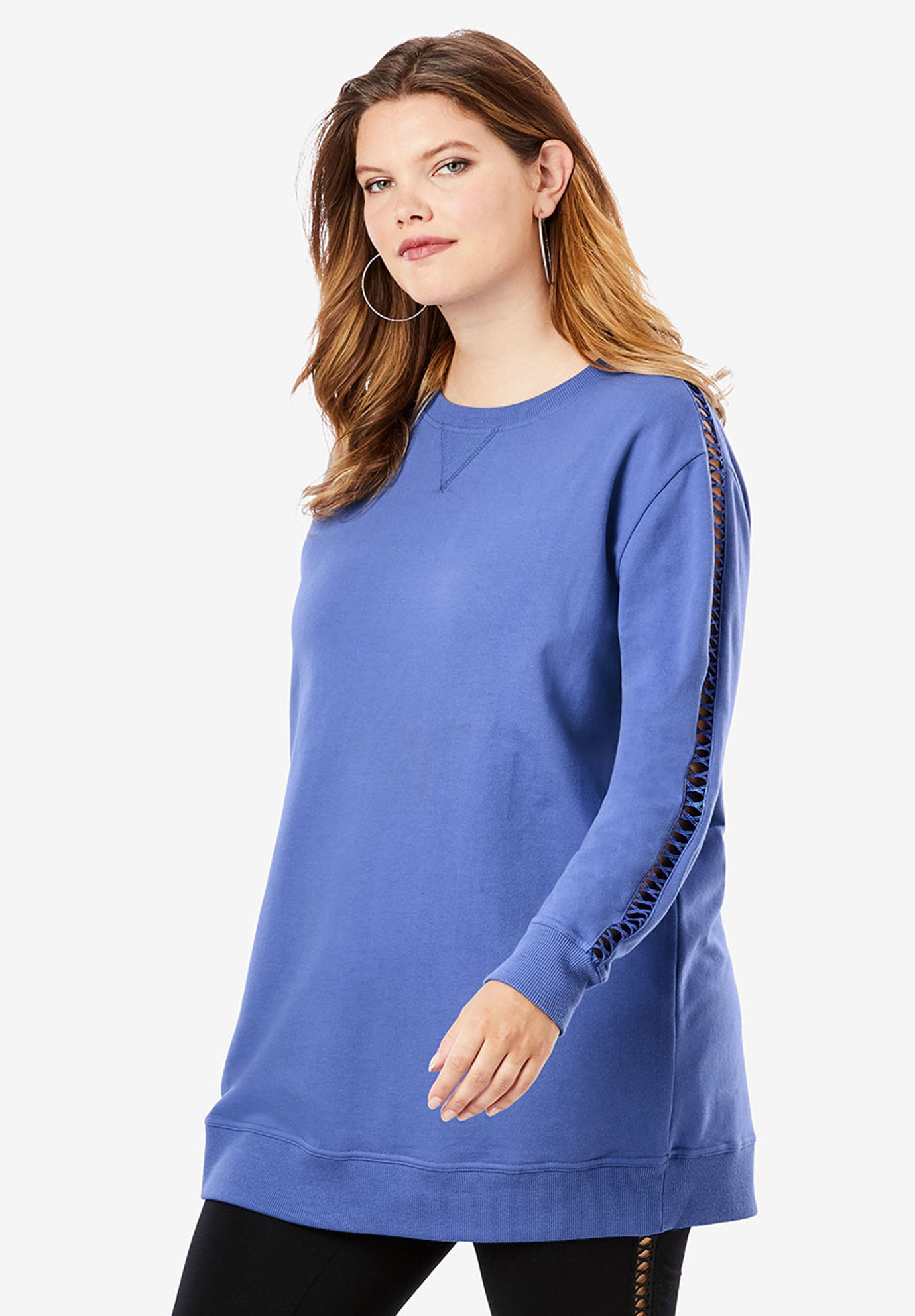 Crochet Sleeve Sweatshirt Tunic,