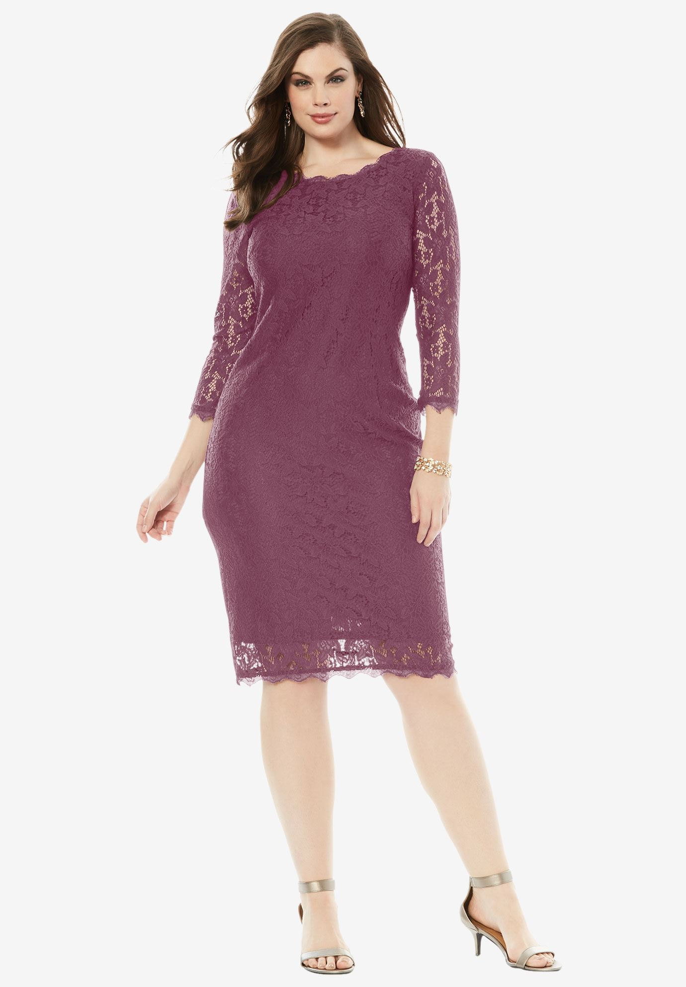 Lace Sheath Dress | Plus Size Evening Dresses | Roaman\'s