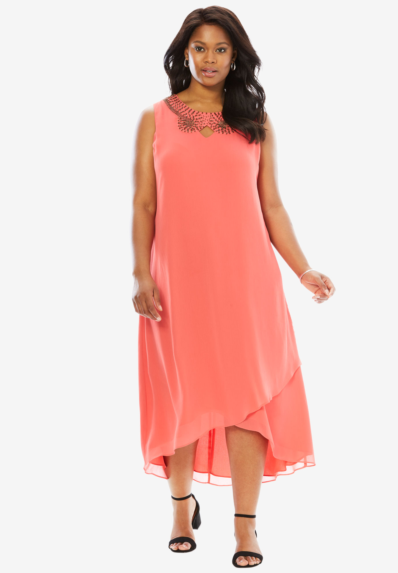 Embellished Maxi Dress, SUNSET CORAL, hi-res