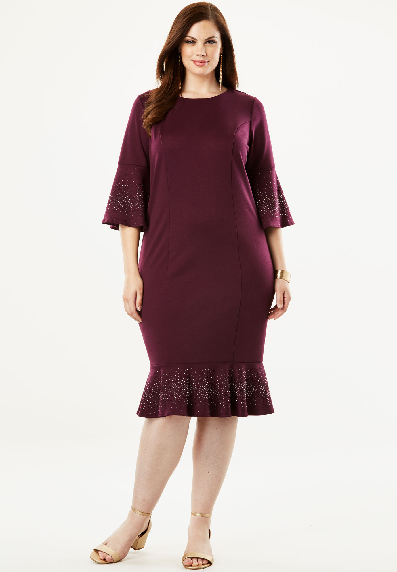 Ponte Dress with Bell Sleeves,