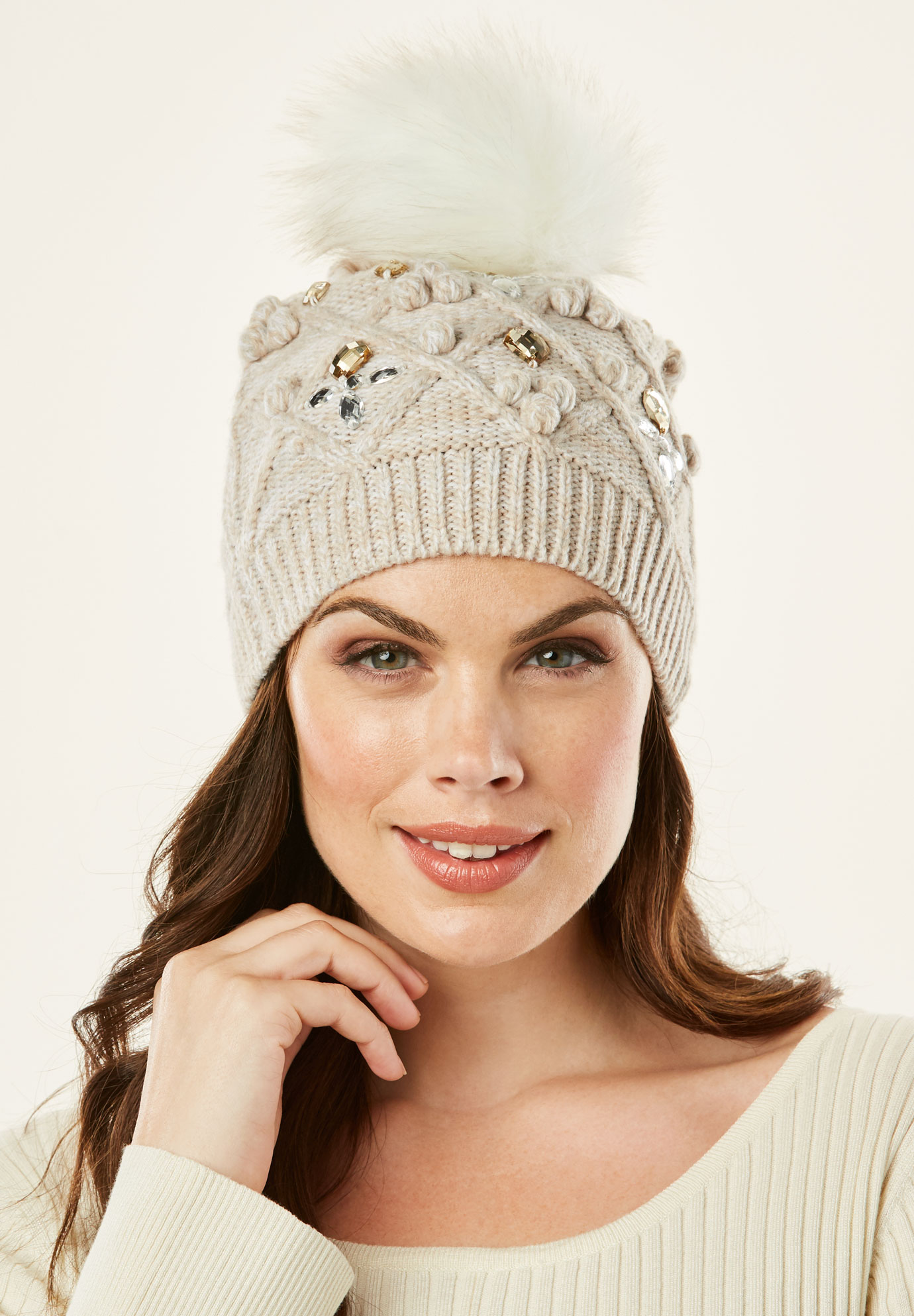 Cable Knit Pom Pom Hat, HEATHER OATMEAL