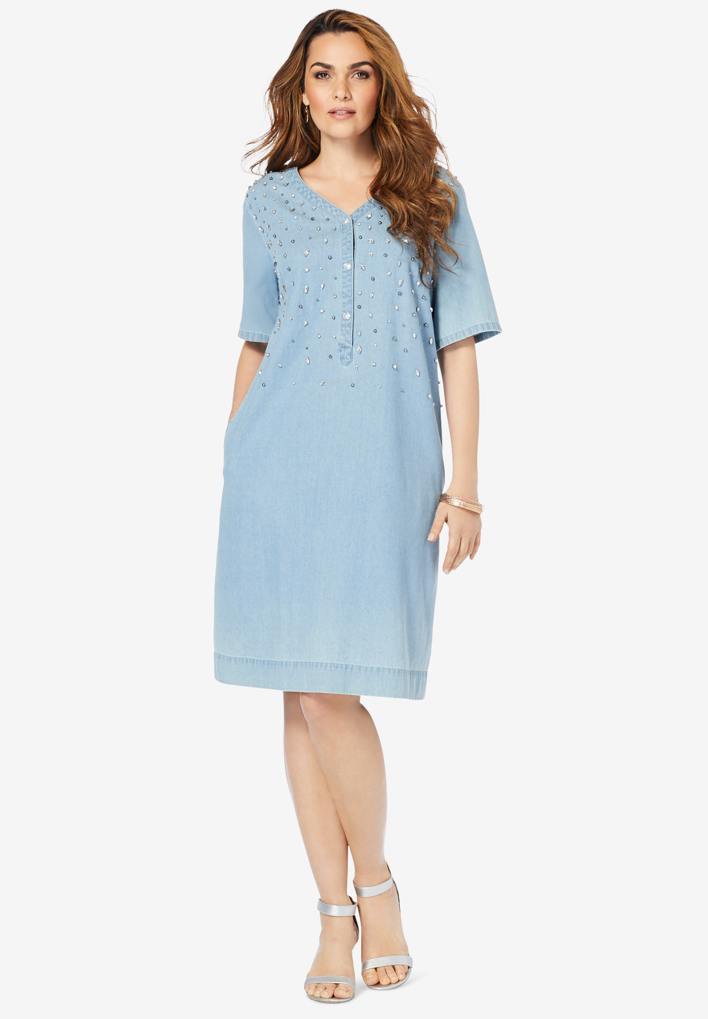 Embellished Denim Shirtdress,