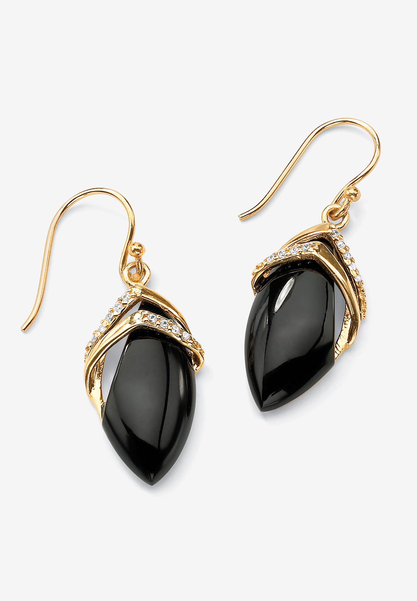 Gold-Plated Onyx & Cubic Zirconia Drop Earrings, GOLD