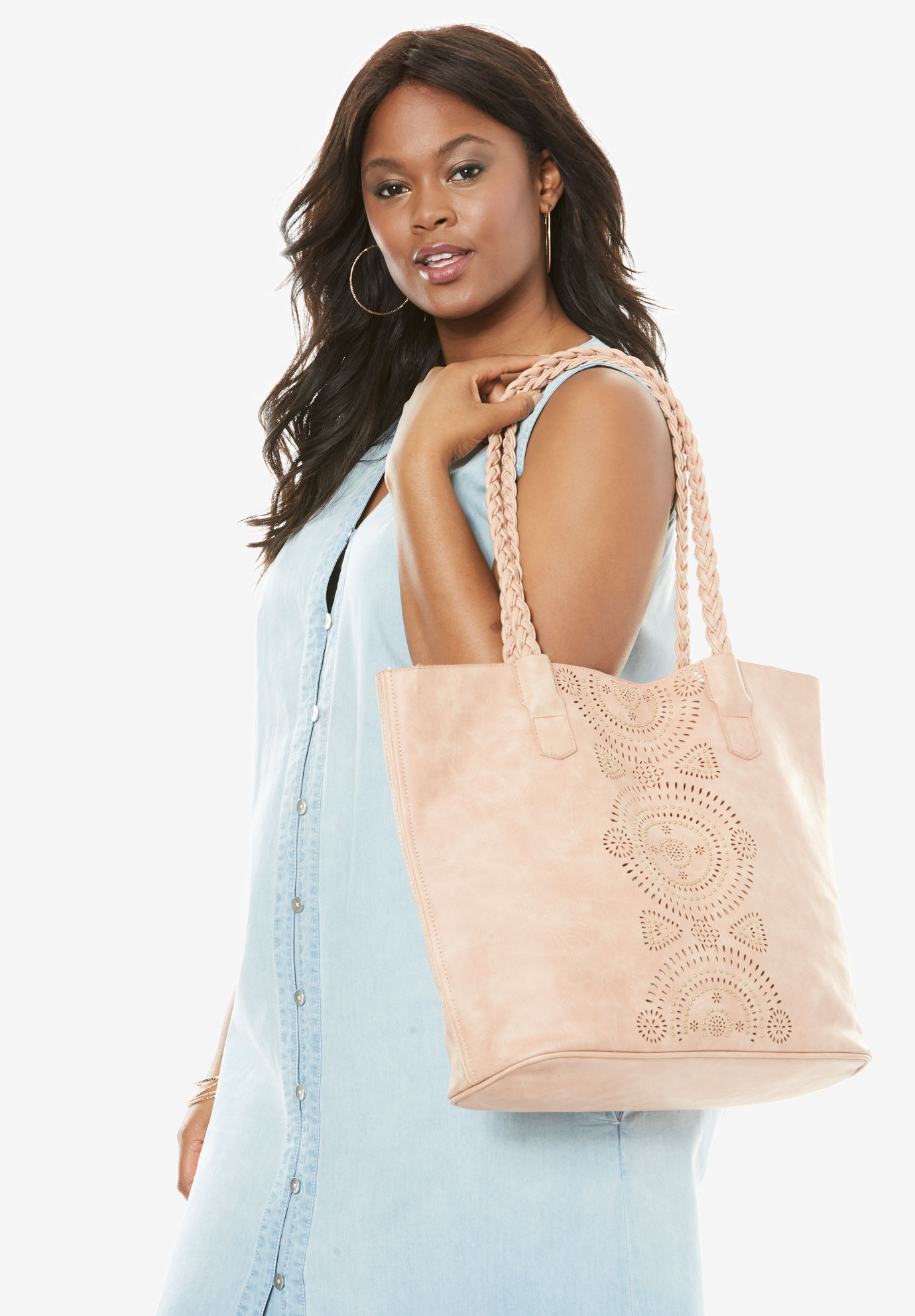 Perforated Metallic Tote, PINK, hi-res