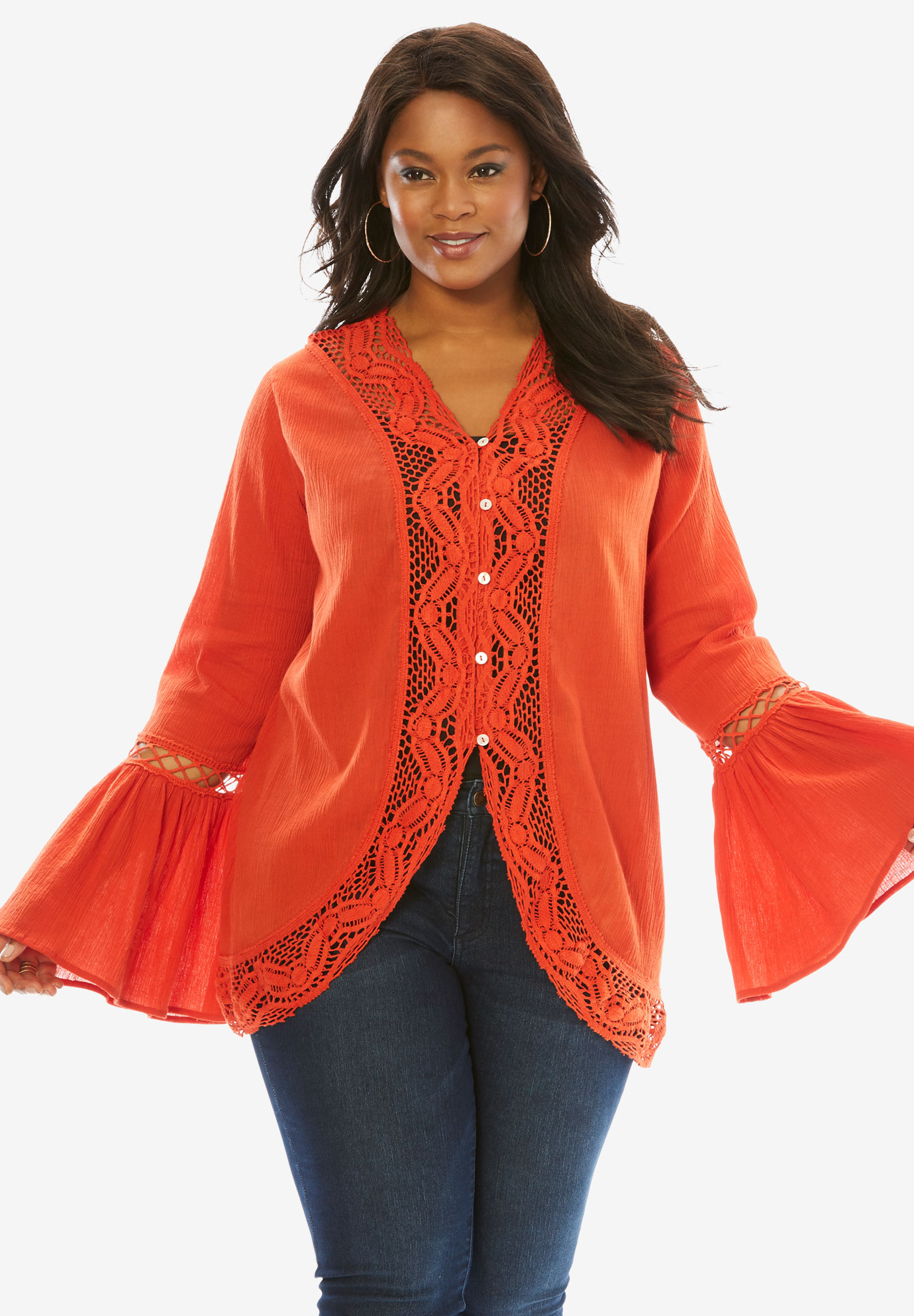 Crochet Bell Sleeve Tunic,
