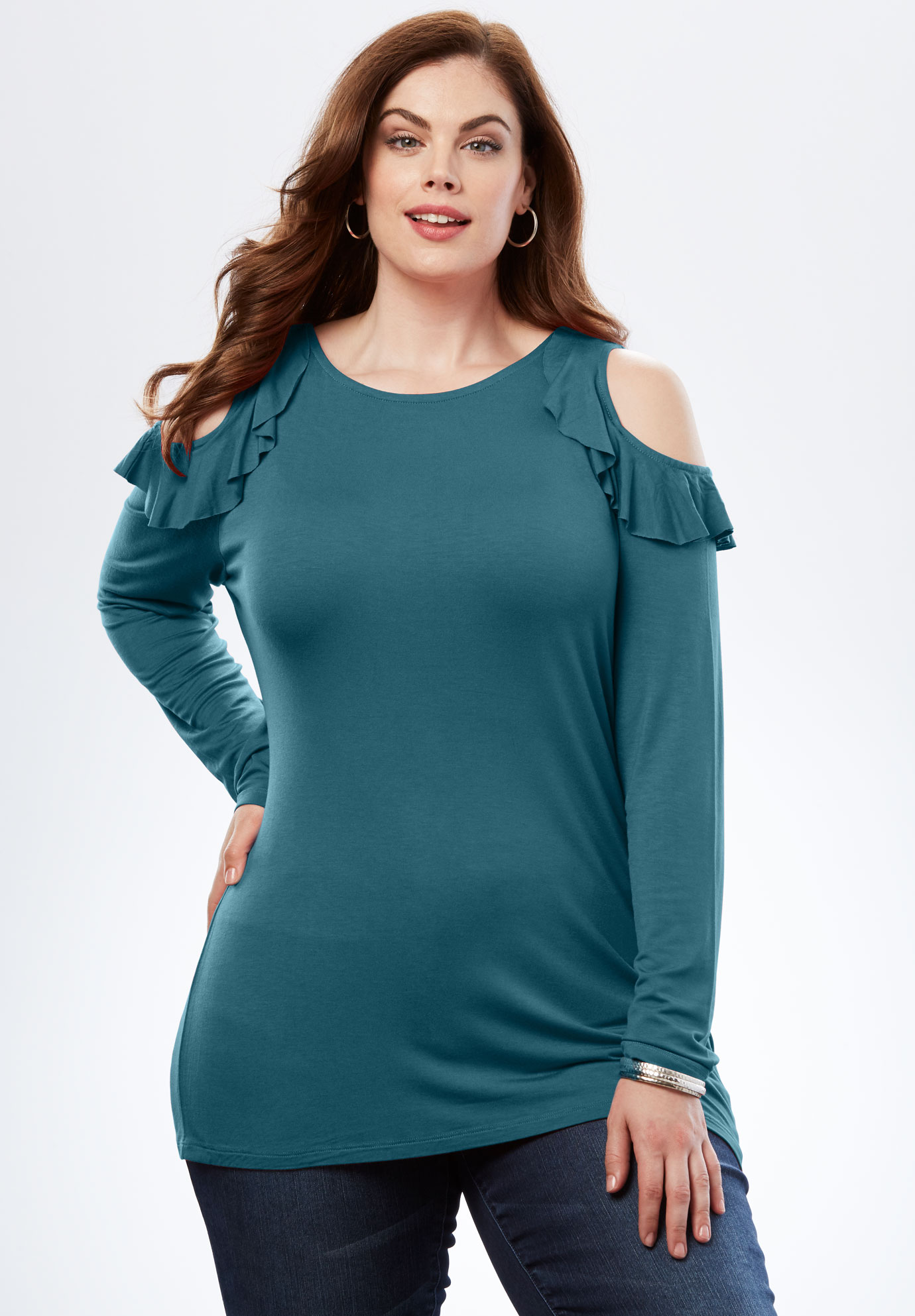 Ruffle Cold-Shoulder Tee,