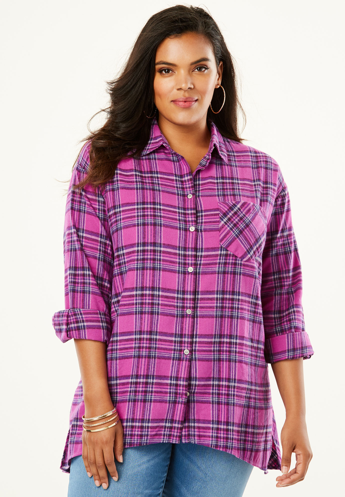 Plaid Peplum Back Tunic,