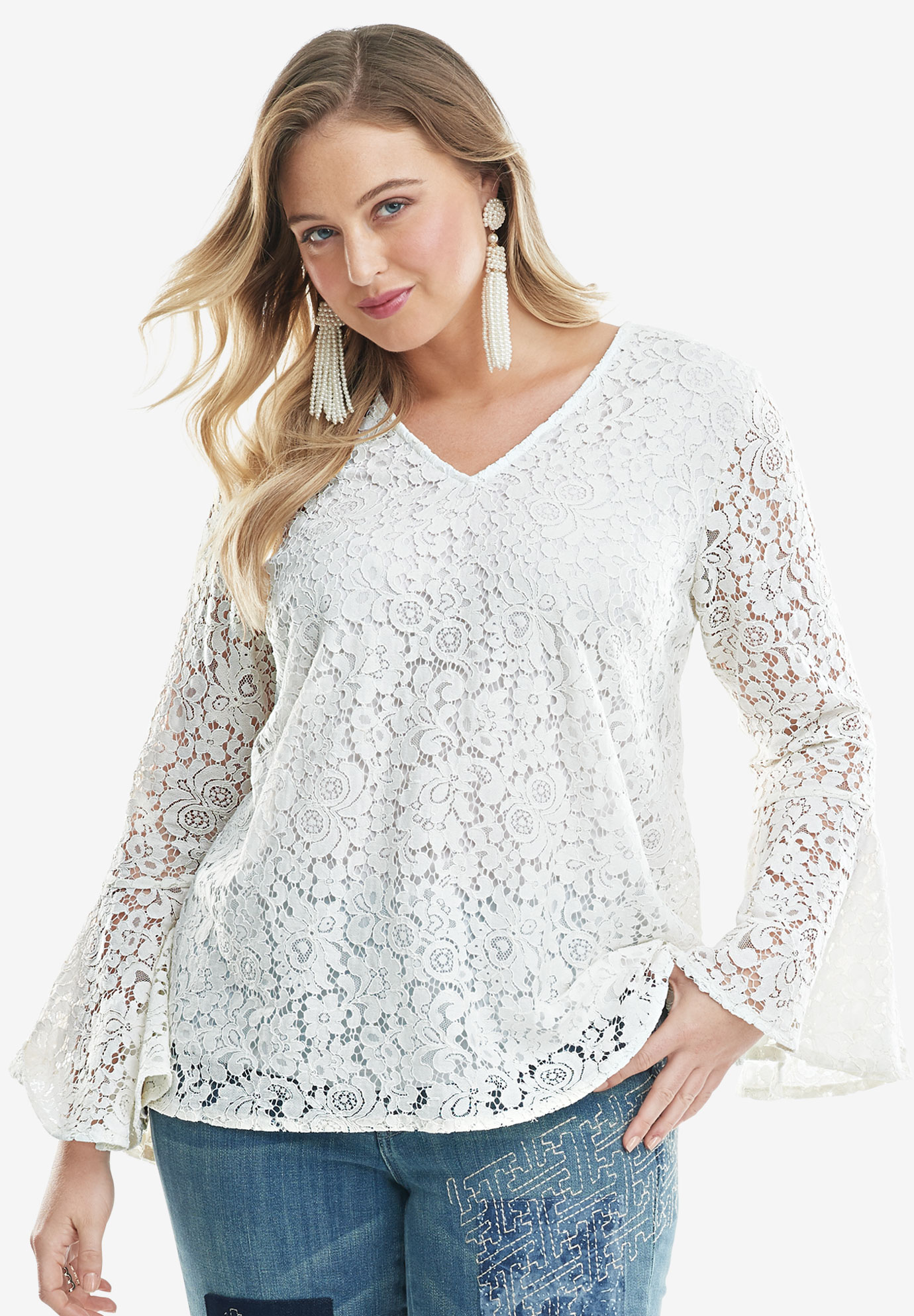 Lace Bell-Sleeve Blouse,