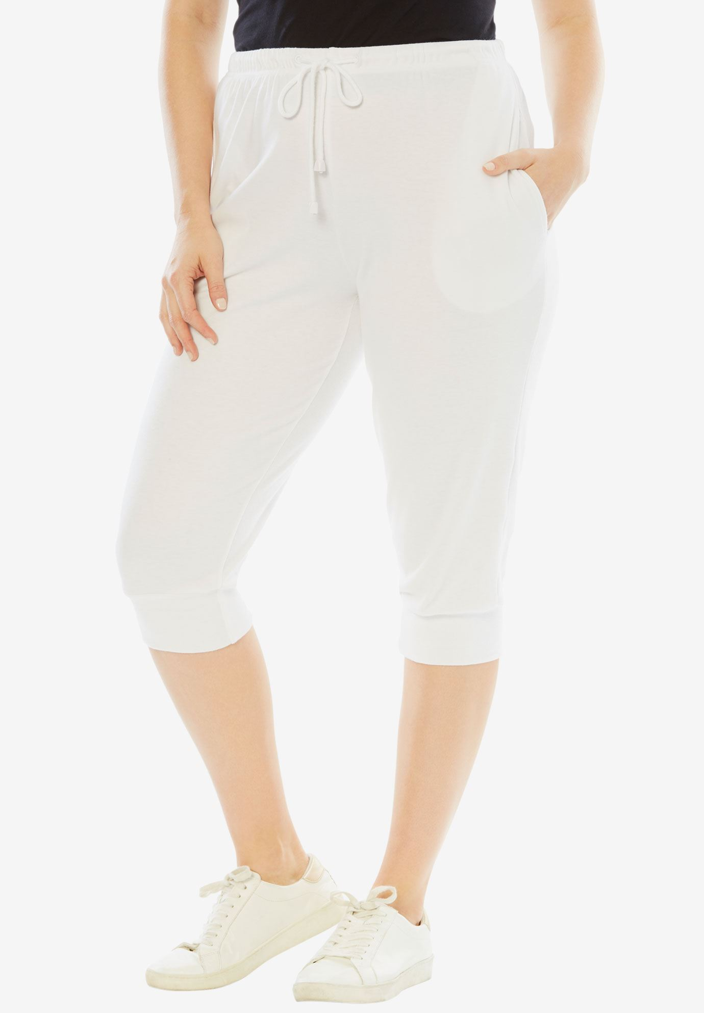 Drawstring Knit Capri, WHITE, hi-res