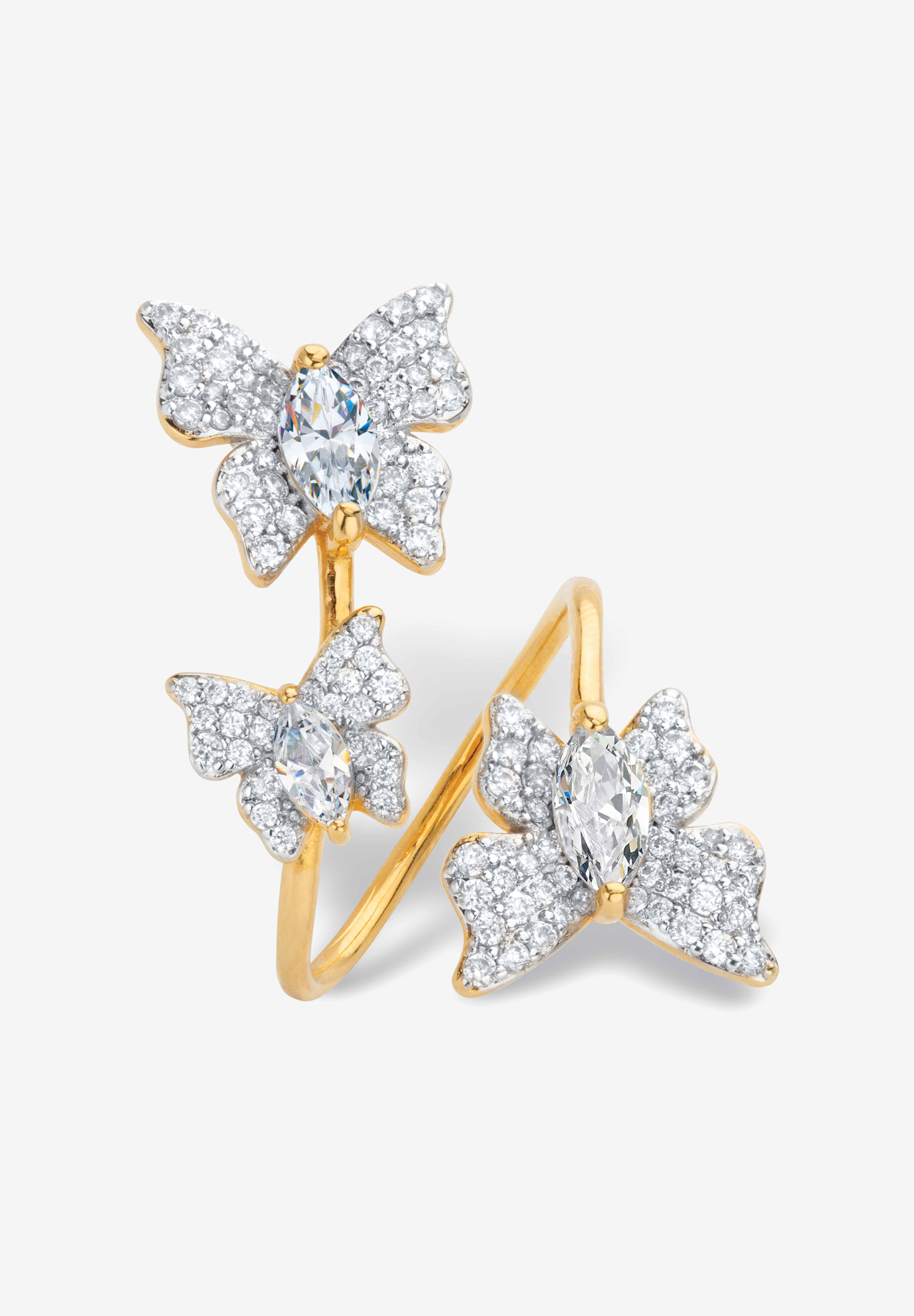 Gold Plated Marquise Cubic Zirconia Butterfly Ring (2 1/3 cttw TDW),